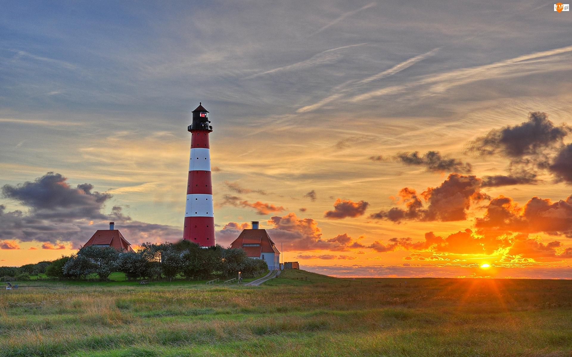 Zachód słońca, Niemcy, Latarnia Morska Westerheversand