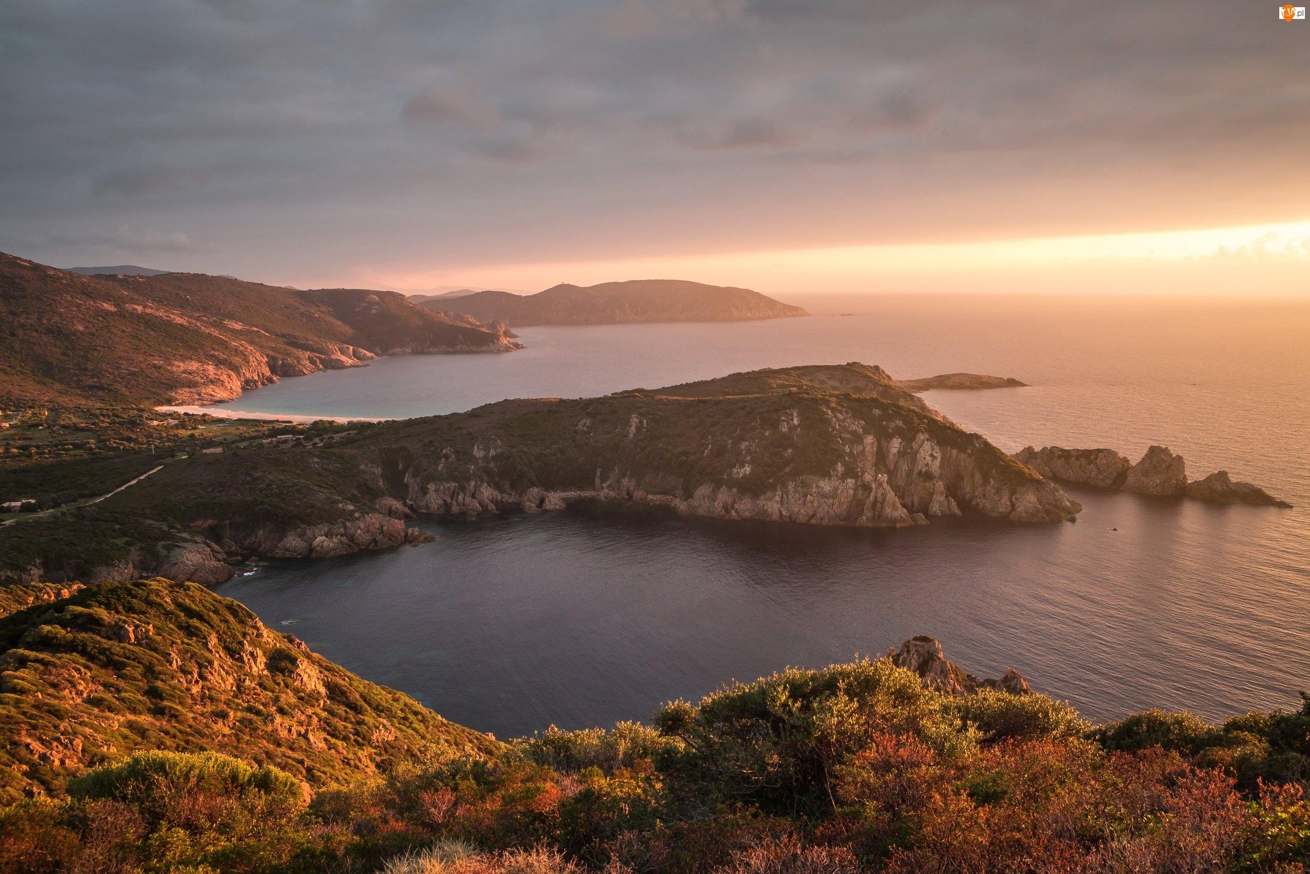 Morze, Skały, Francja, Wybrzeże, Korsyka, Zachód słońca