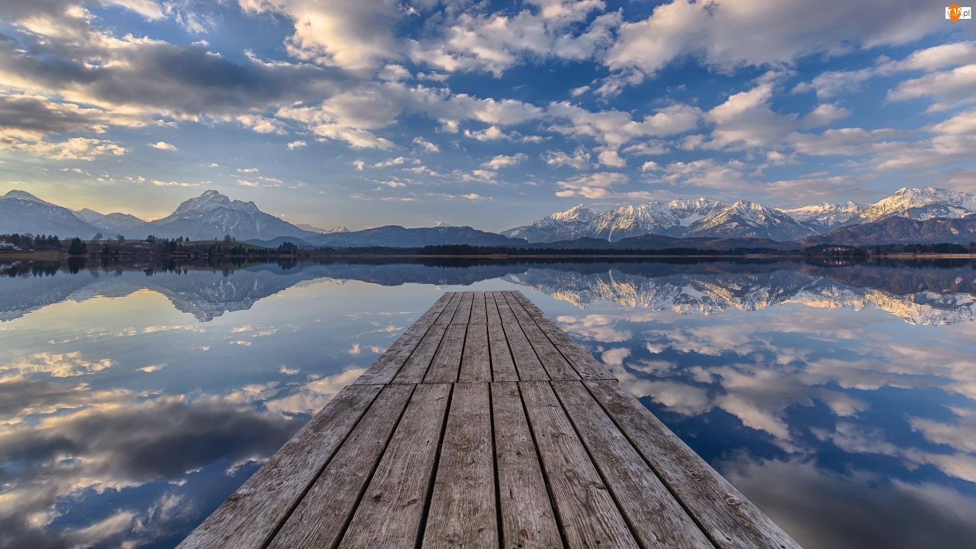 Góry, Jezioro, Niebo, Pomost, Chmury