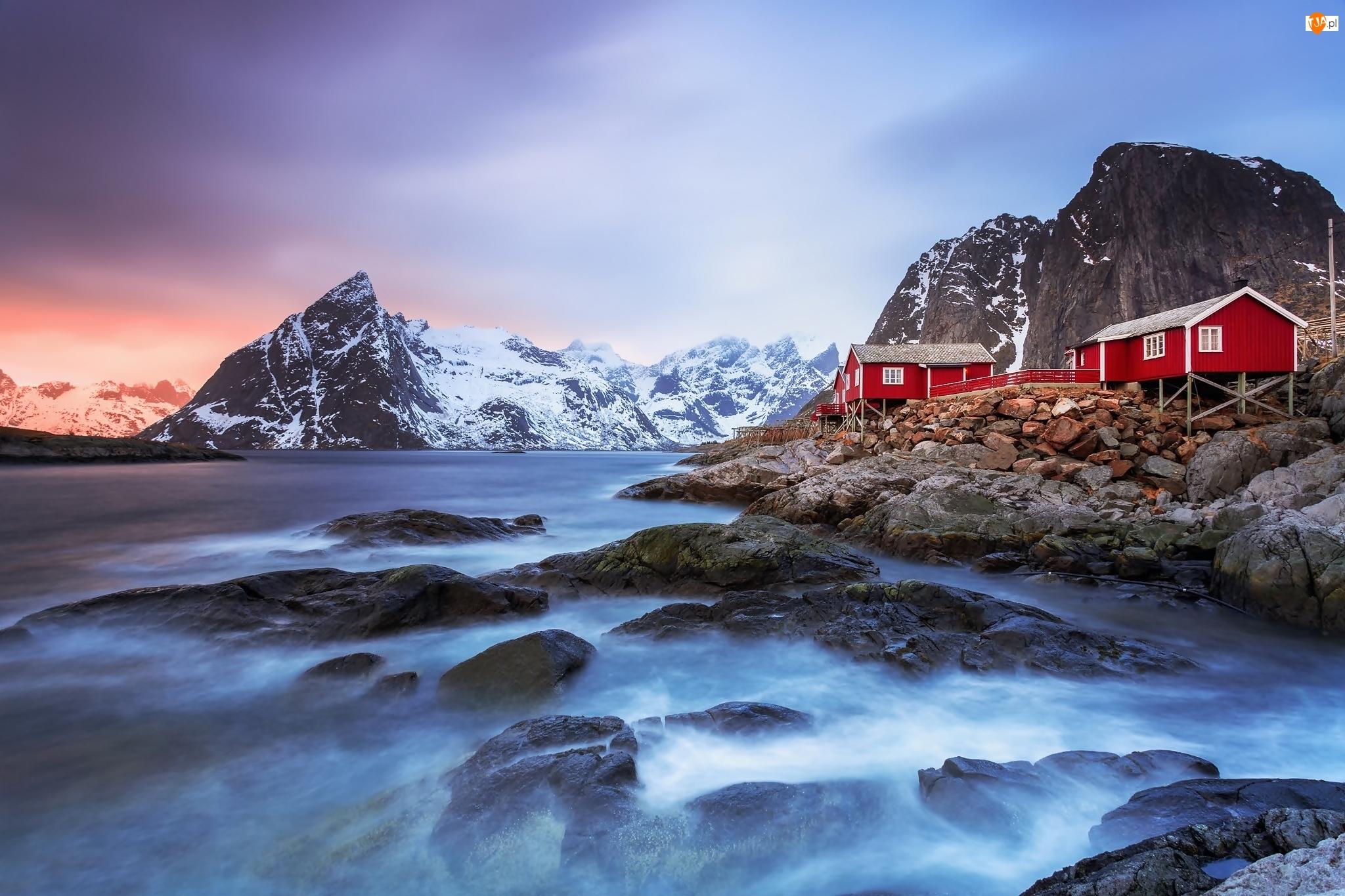 Skały, Norwegia, Góry, Wioska Reine, Morze