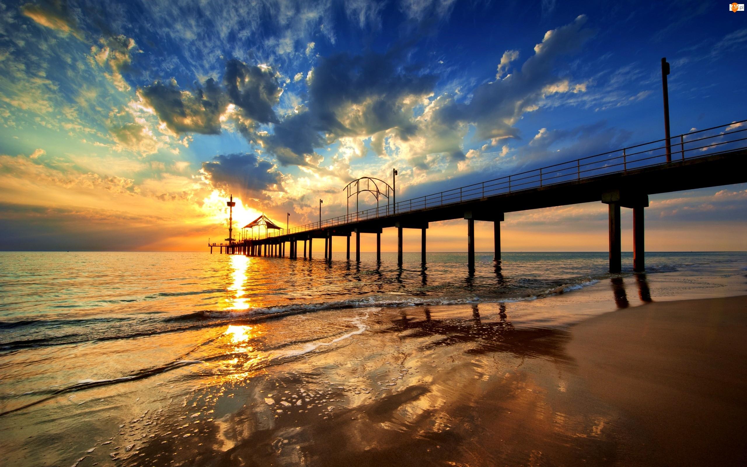 Morze, Chmury, Zachód słońca, Molo