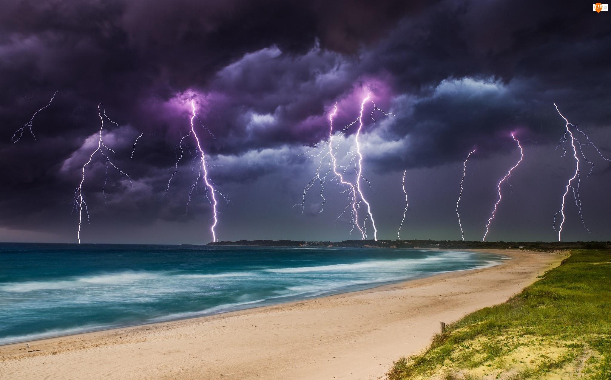 Burza, Plaża, Morze, Pioruny