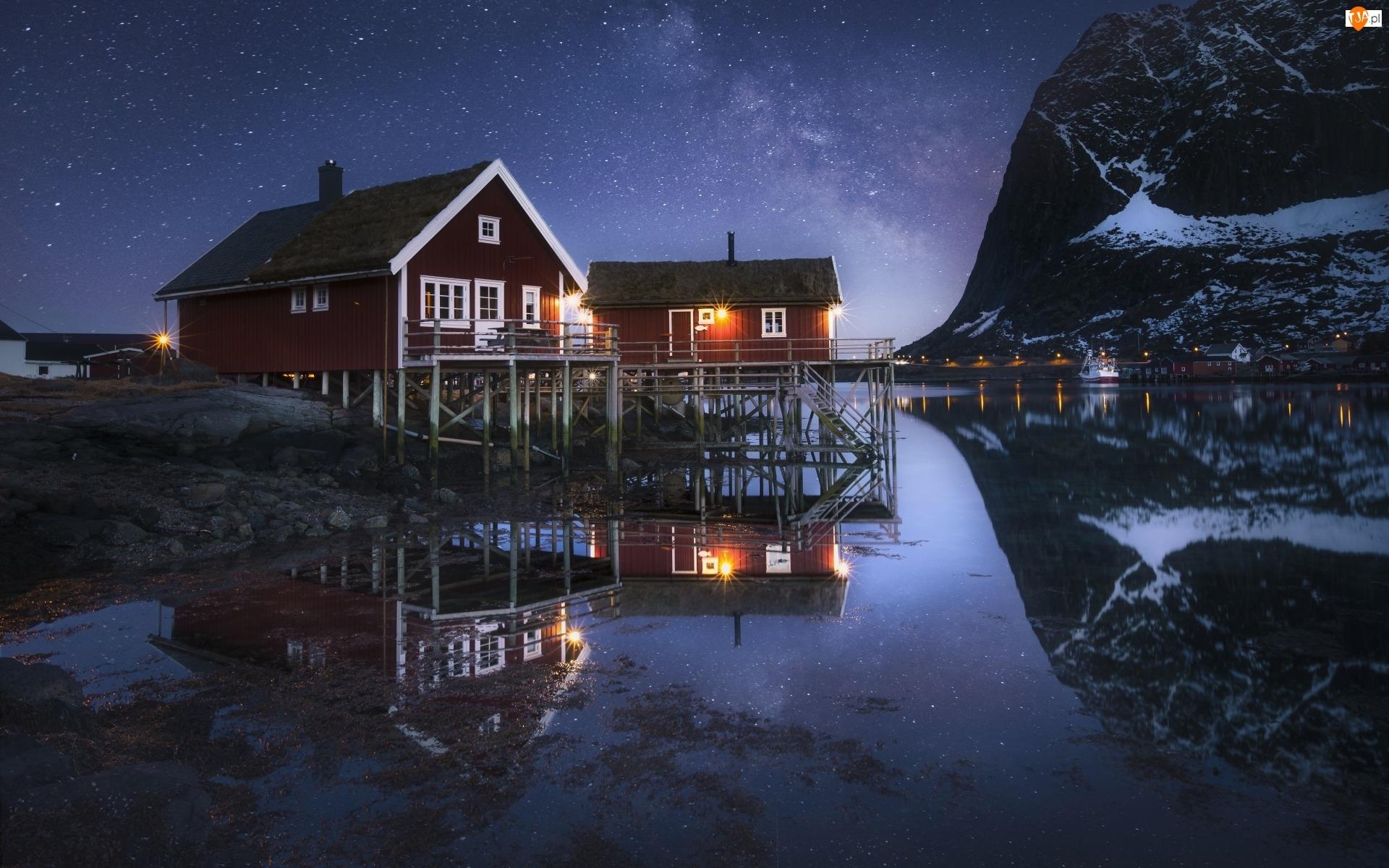 Noc, Norwegia, Domy, Wioska Reine, Góry