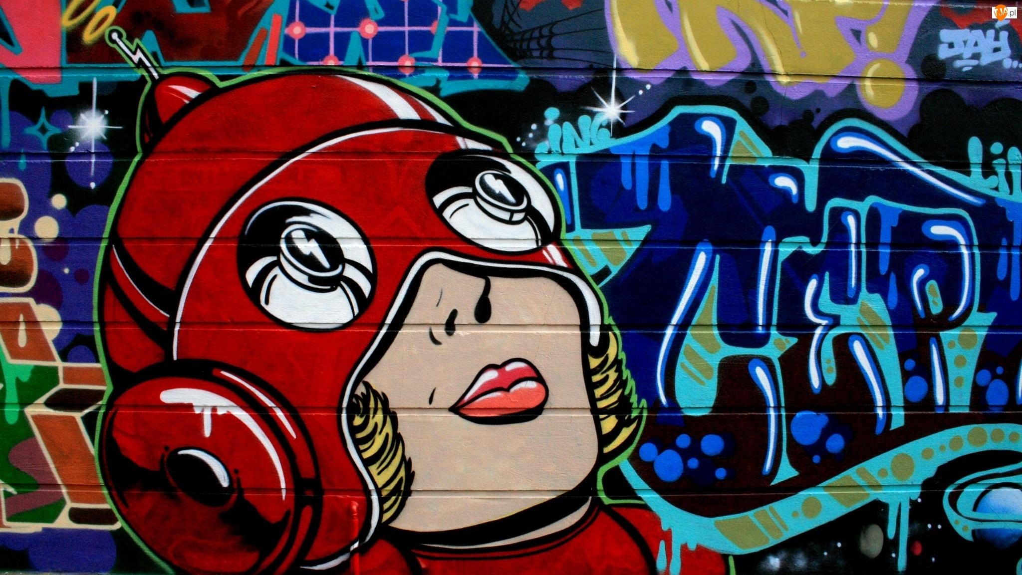 Kobieta, Mural, Street art