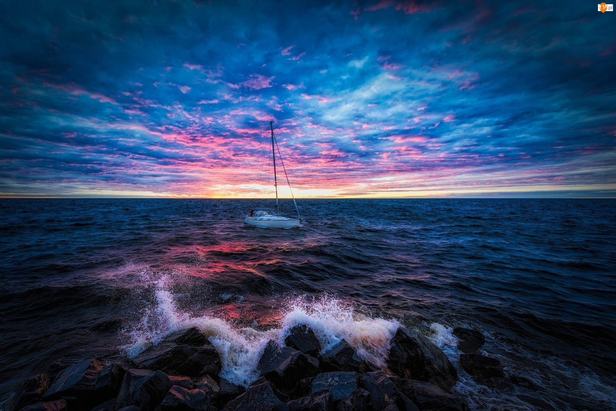 Morze, Niebo, Żaglówka, Kolorowe