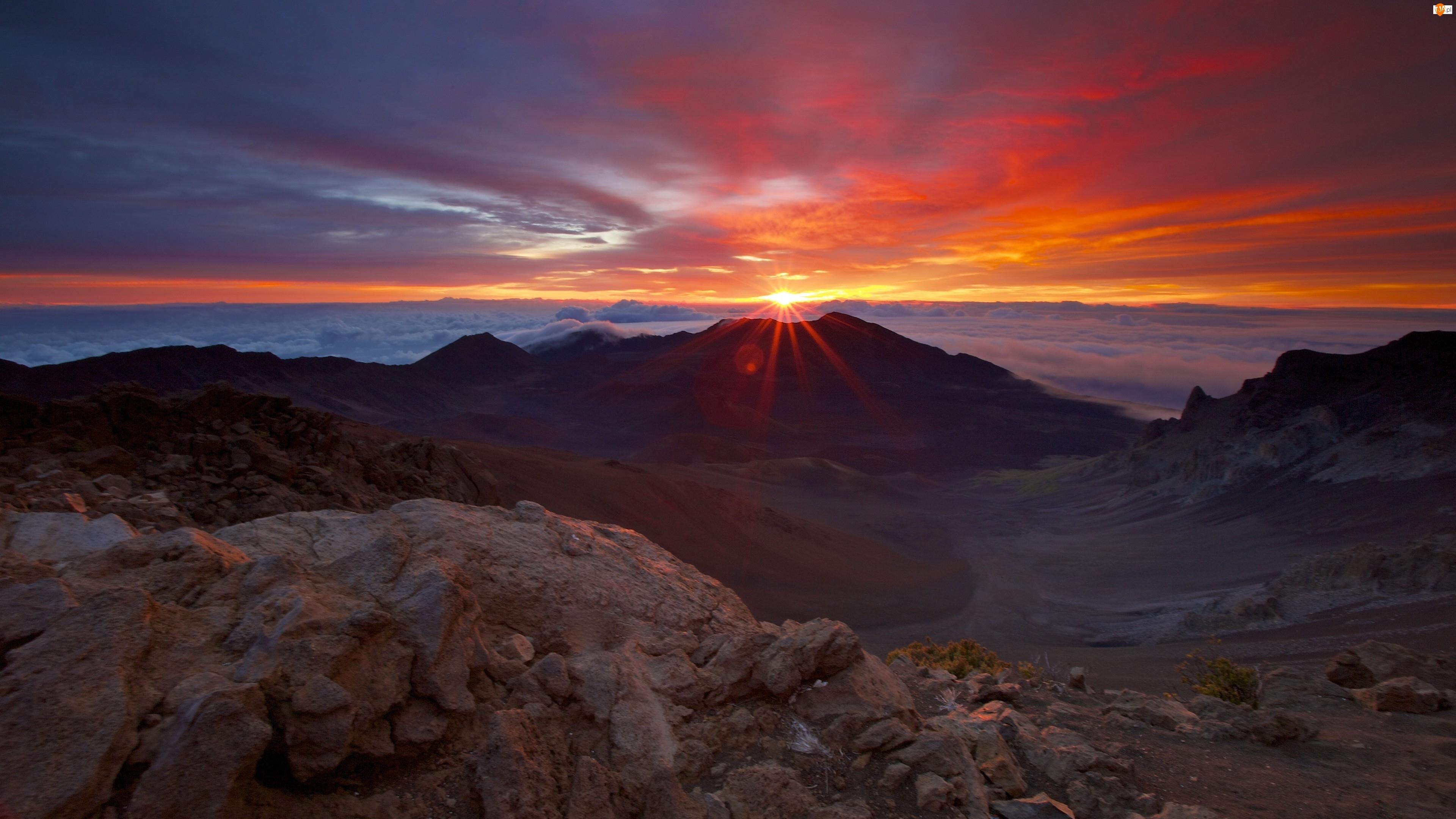 Chmury, Góry, Zachód Słońca