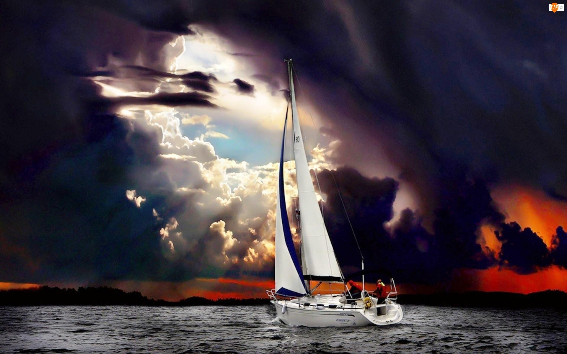 Żaglówka, Burza, Morze, Chmury