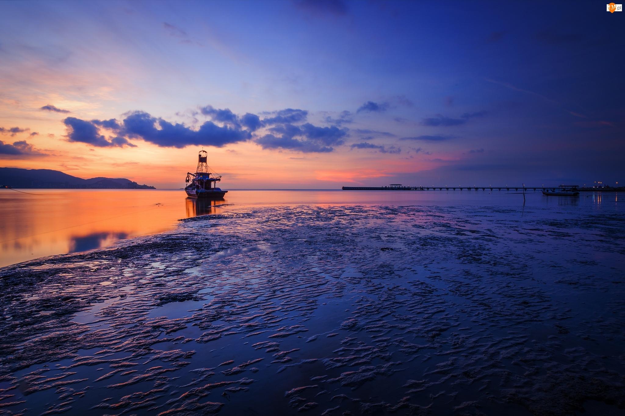 Kuter, Zachód słońca, Morze, Chmury