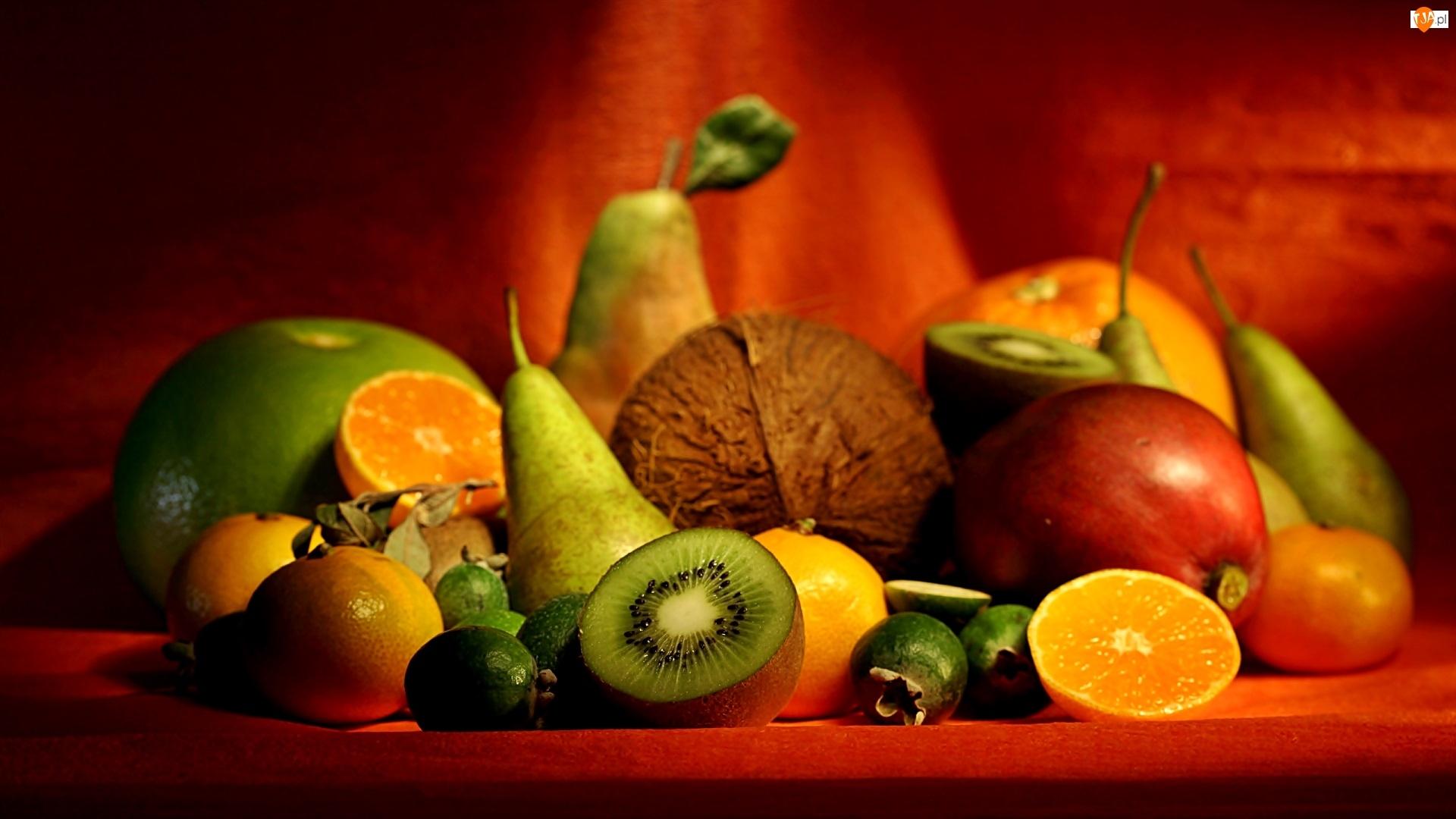 Owoce, Pomarańcze, Kiwi, Gruszki