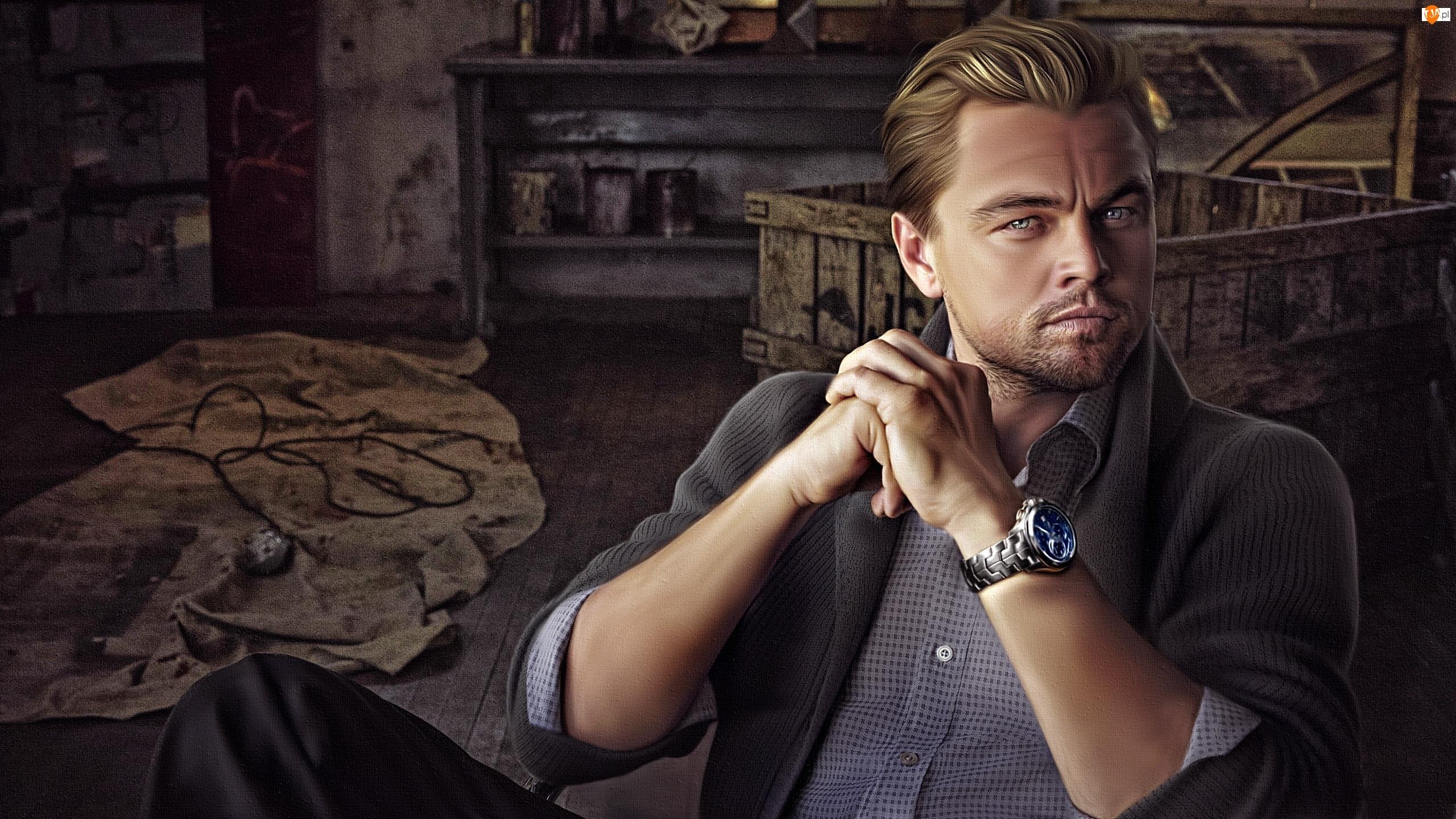 Grafika komputerowa, Mężczyzna, Aktor, Leonardo DiCaprio, Portret