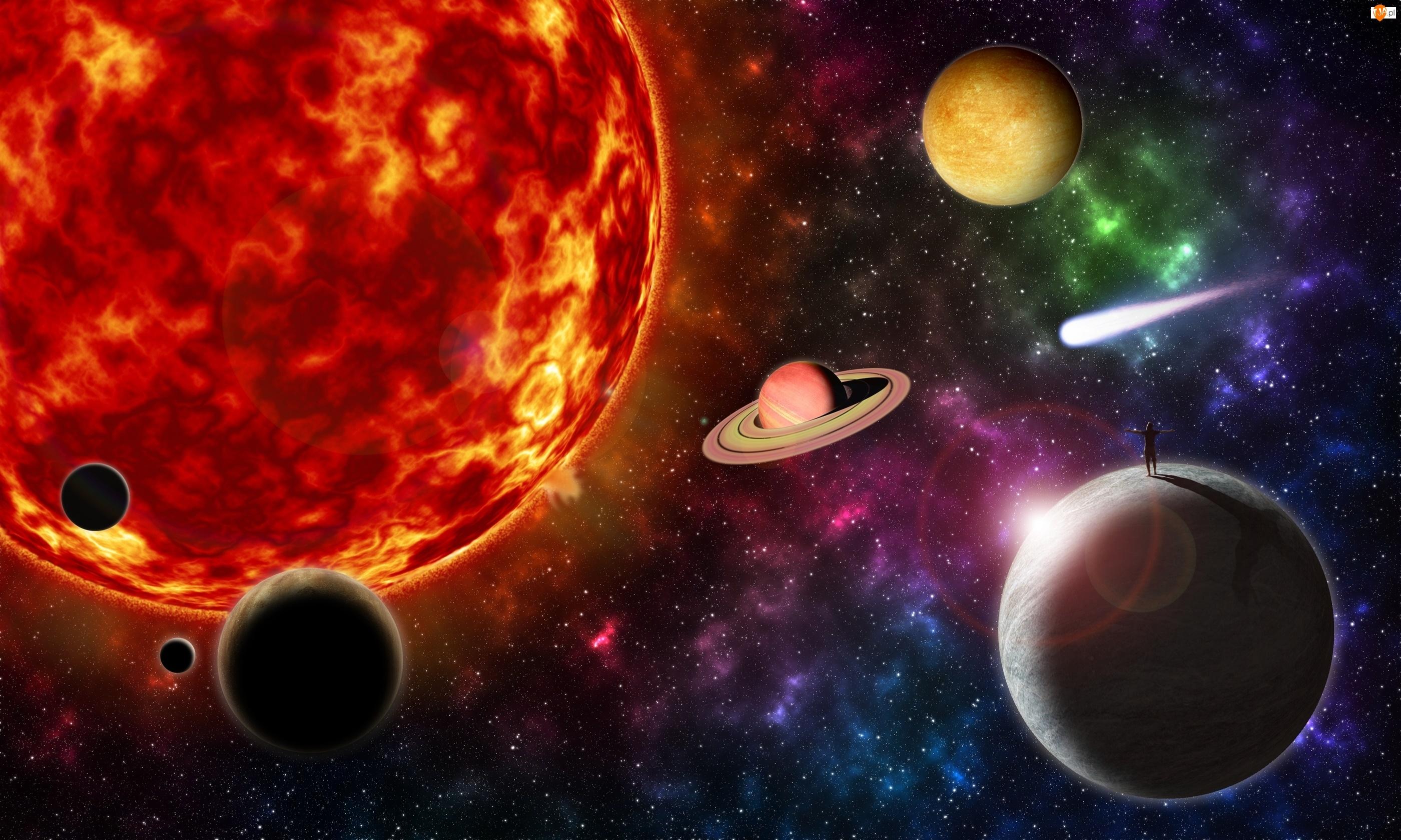 Grafika 3D, Słońce, Człowiek, Planety, Kosmos