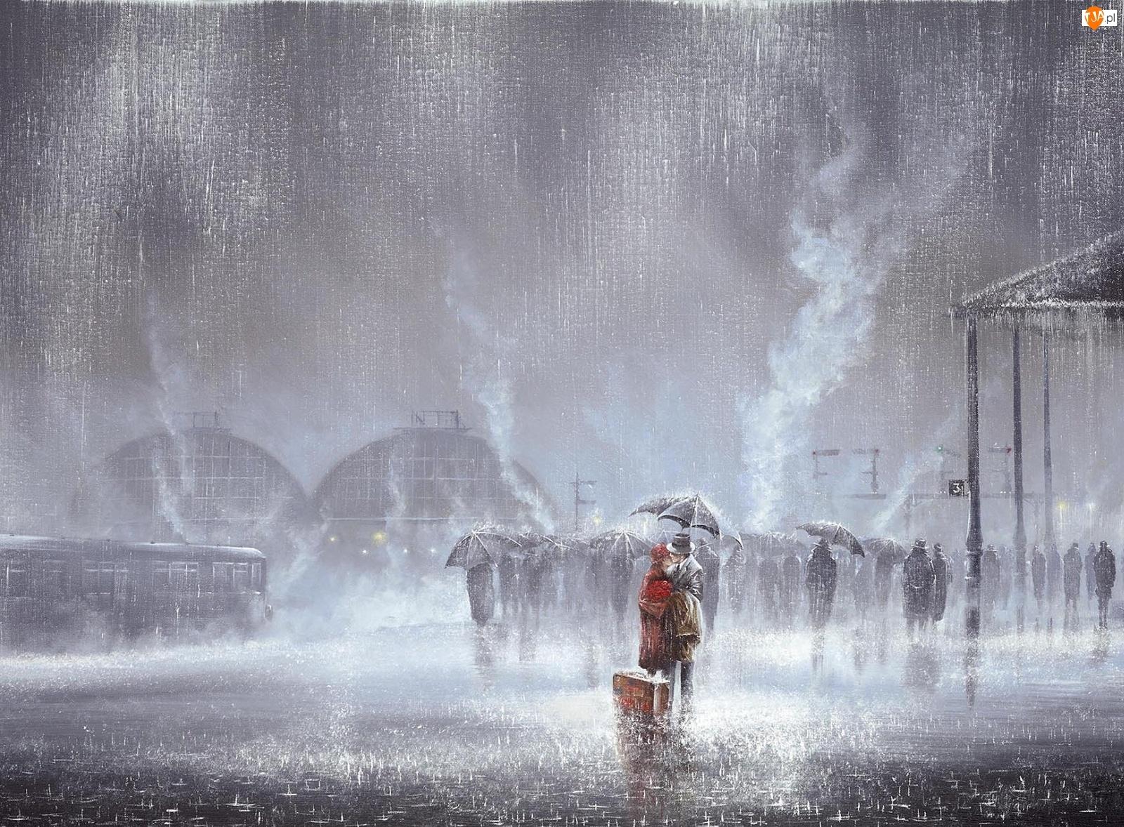 Deszcz, Parasol, Malarstwo, Walizka, Obraz, Mężczyzna