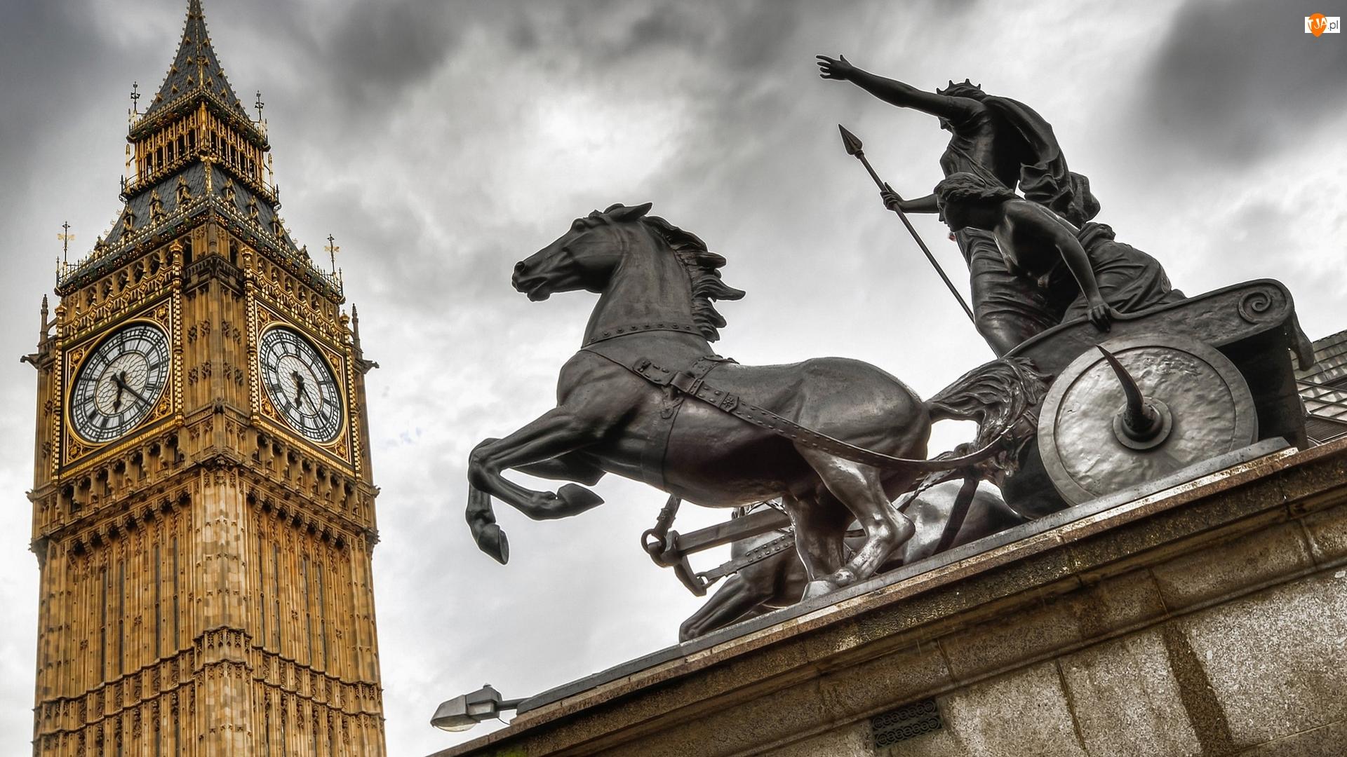 Big Ben, Anglia, Rzeźba Boadicea i jej córki, Londyn, Koń