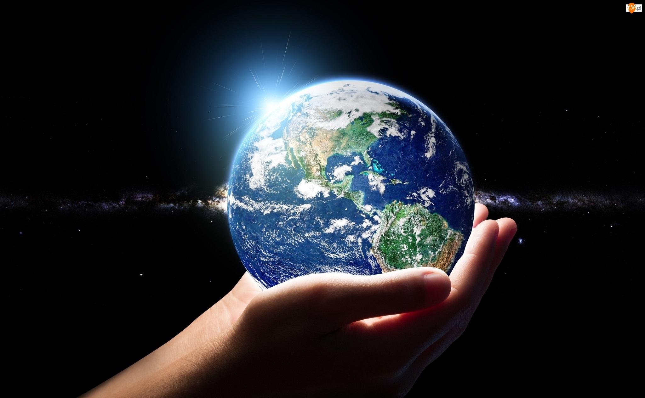 Planeta, Kosmos, Ziemia, Dłonie