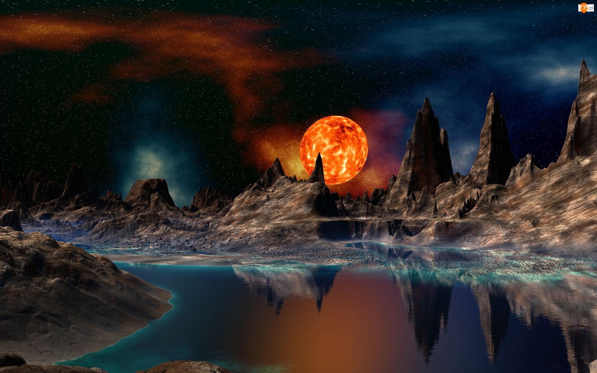 Woda, Fantasy, Gwiazdy, Słońce, Góry