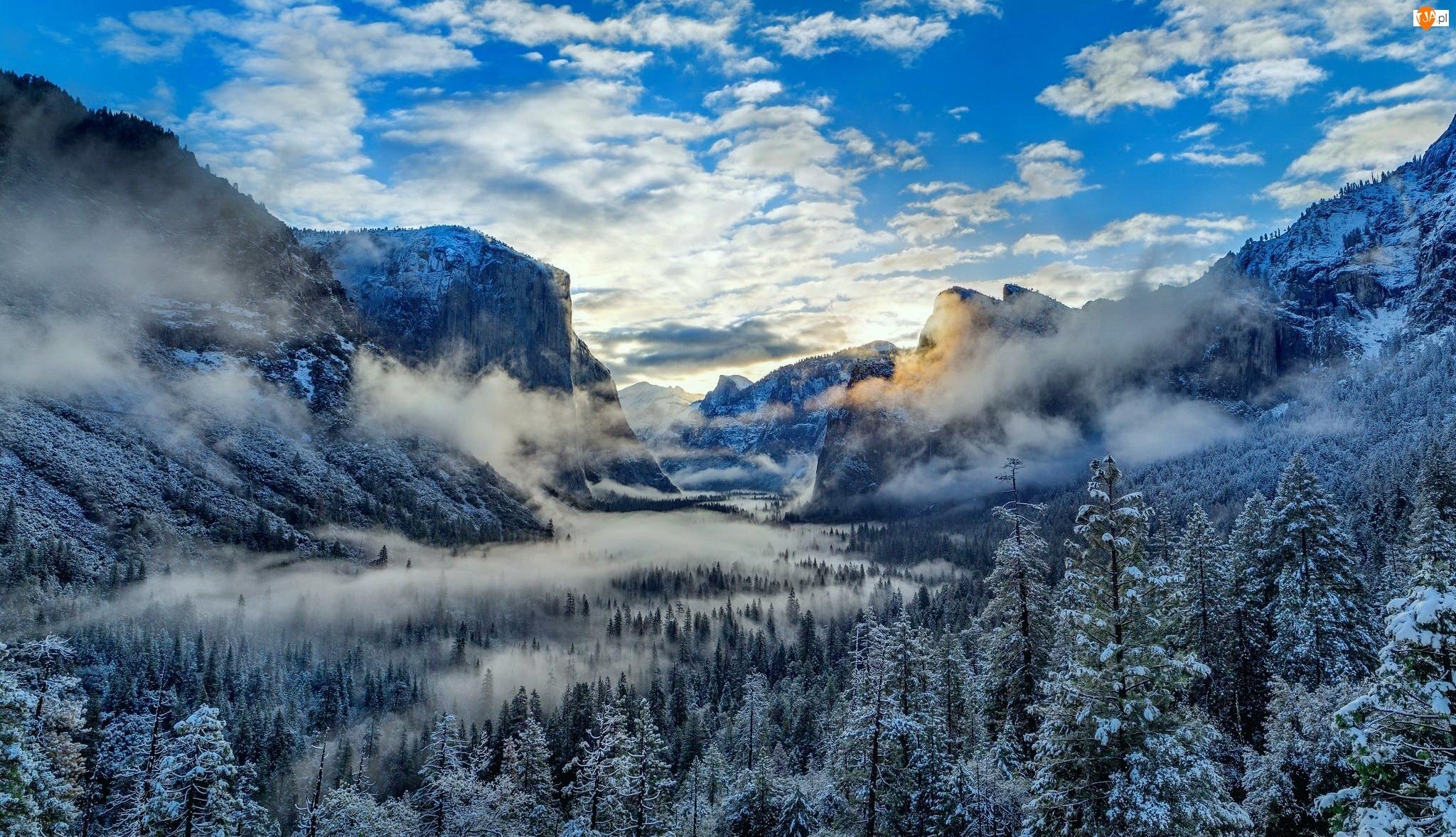 Dolina Yosemite Valley, Zima, Kalifornia, Mgła, Park Narodowy Yosemite, Góry
