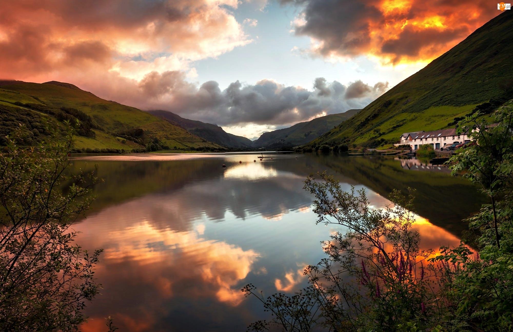 Park Narodowy Snowdonia, Góry, Wielka Brytania, Domy, Walia, Jezioro Tal-y-llyn Lake