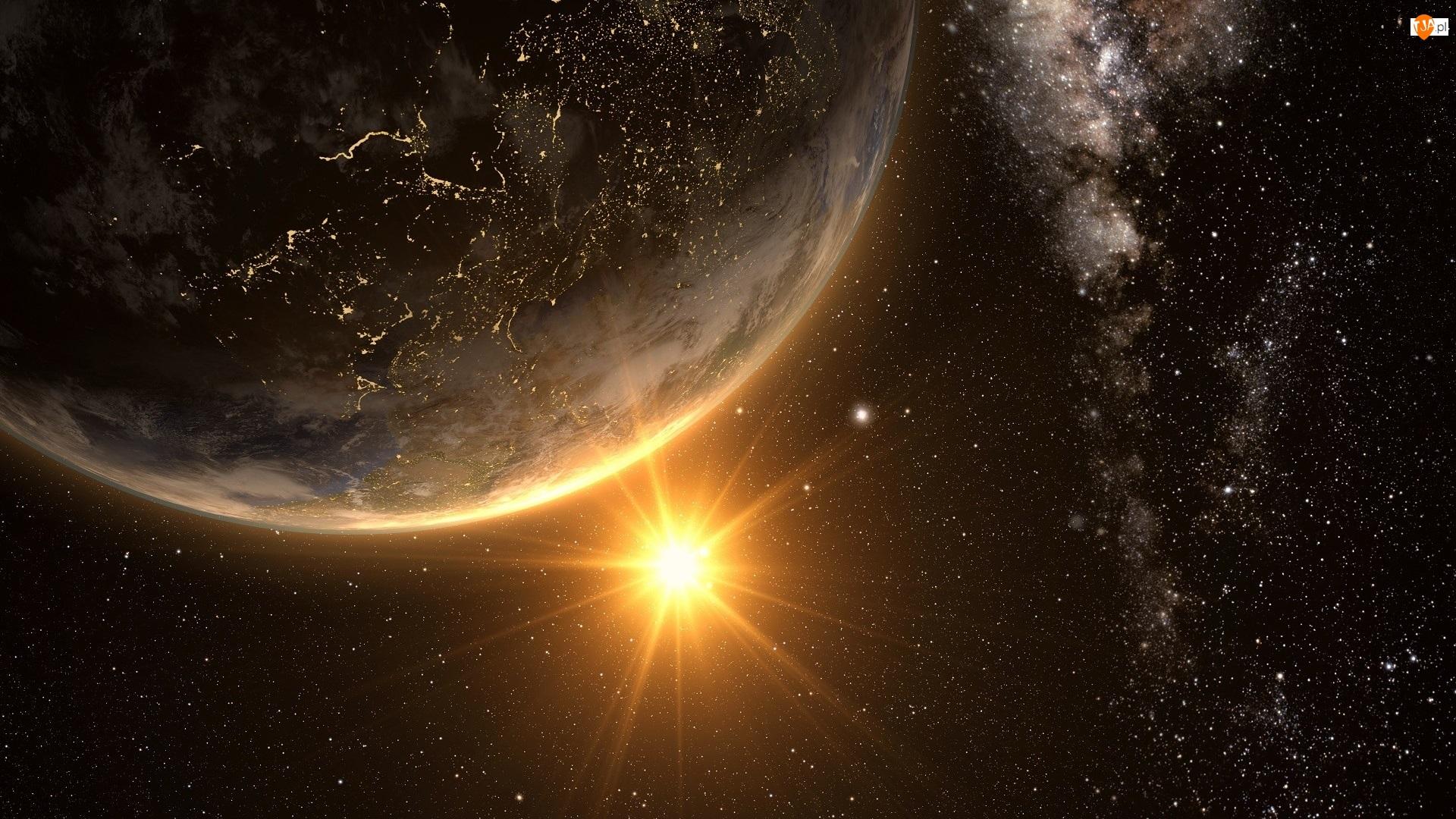 Słońce, Kosmos, Planeta Ziemia, Gwiazdy