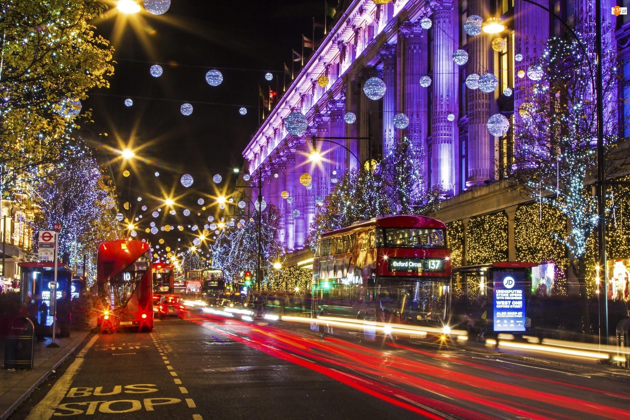 Noc, Londyn, Samochody, Świątecznie, Oświetlenie