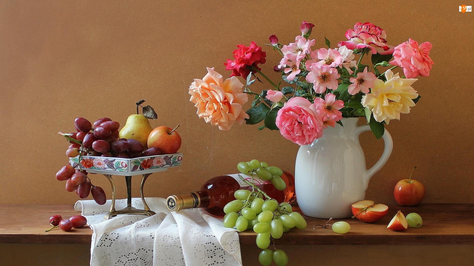 Owoce, Jabłka, Bukiet, Winogrona, Kompozycja, Wino, Róże, Gruszka