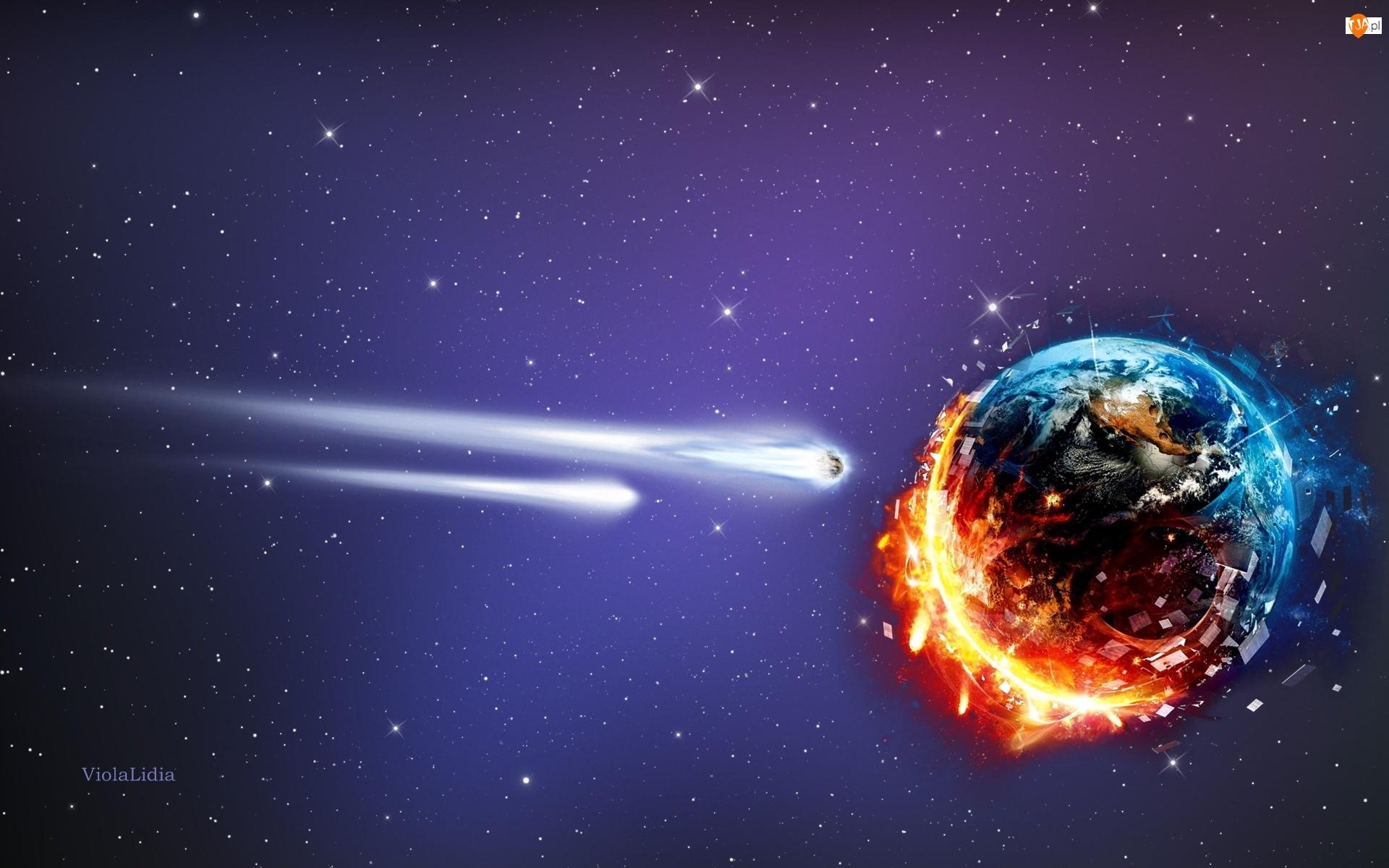 Ziemia, Komety, Grafika, Kosmos, Planeta, Meteoryty