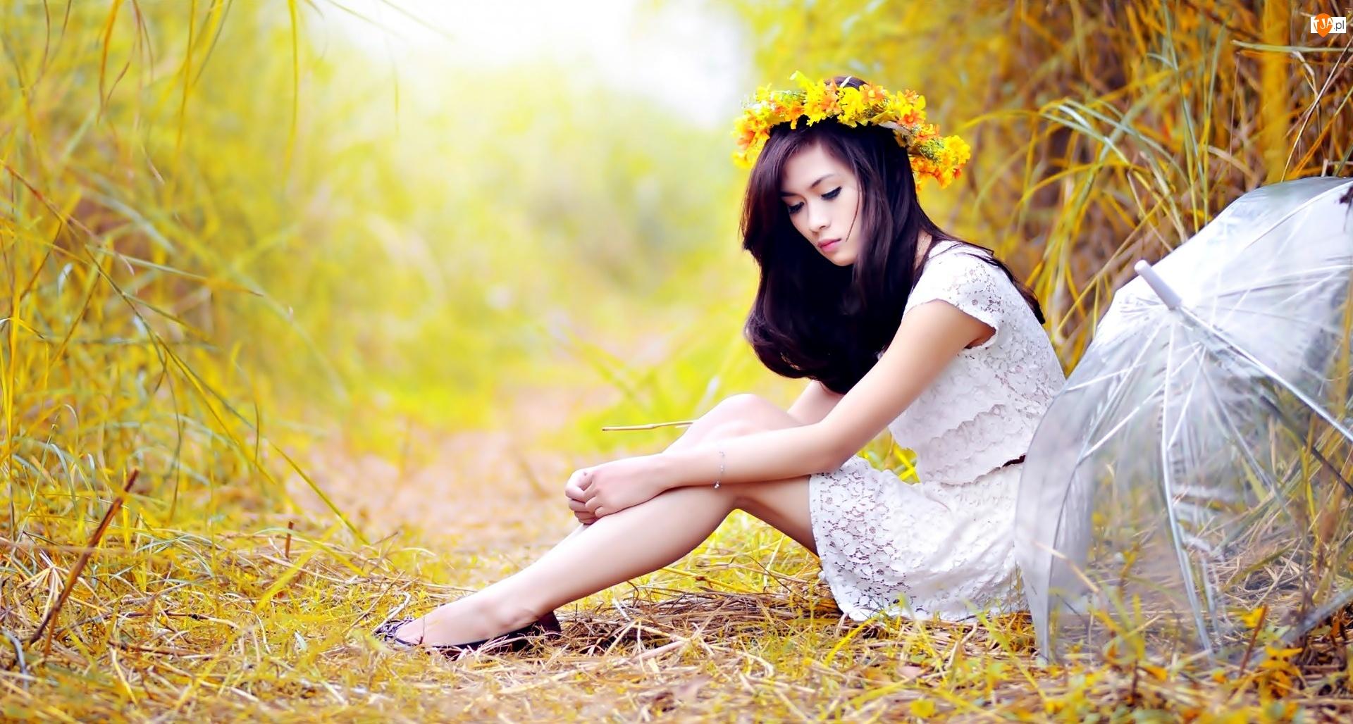 Parasol, Kobieta, Kwiaty, Żółte, Wianek