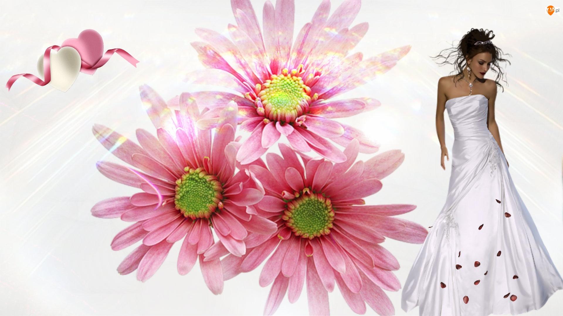 Serca Kobieta, Kwiaty, Dziewczyna