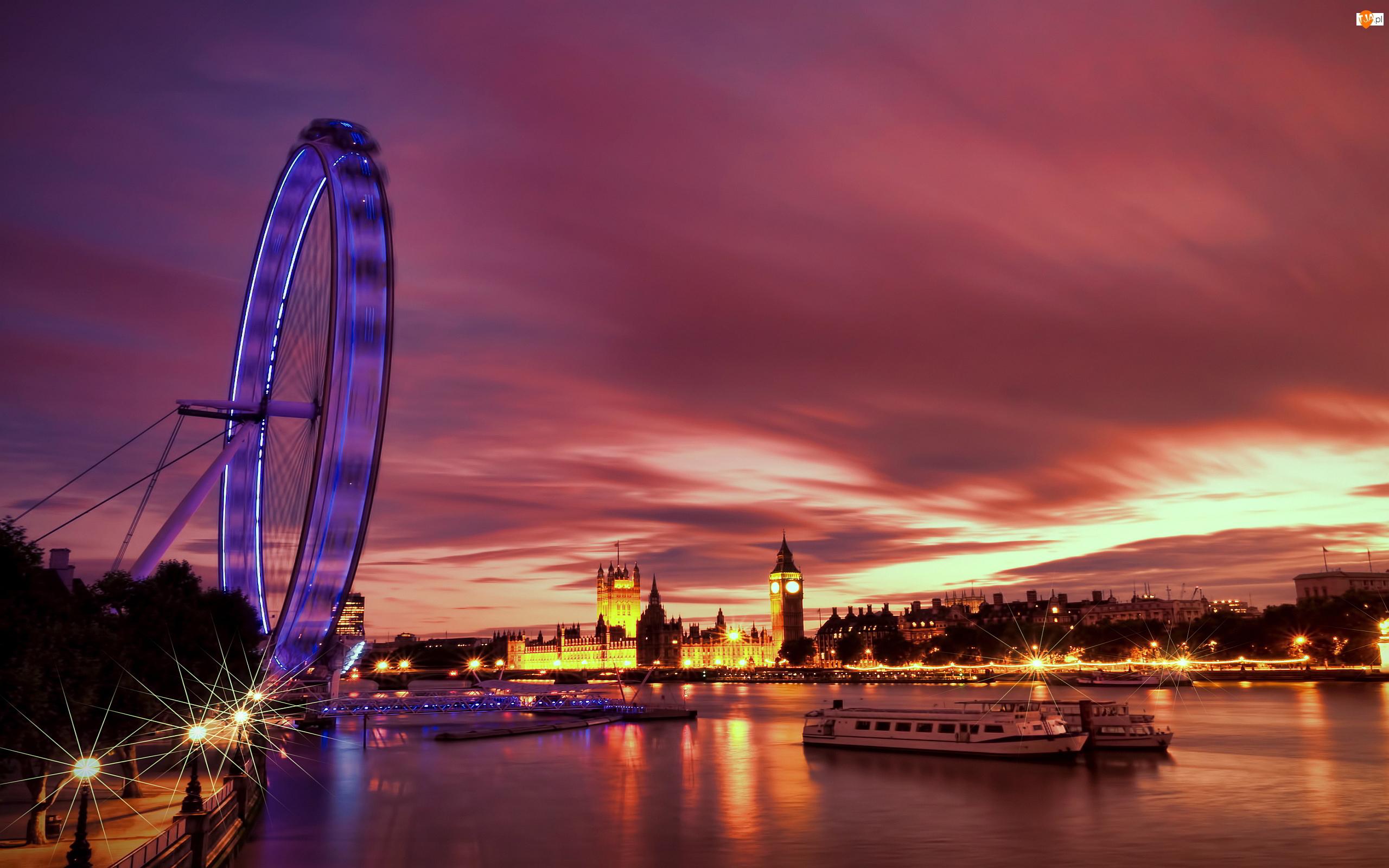 Światła, Londyn, Rzeka, London Eye, Wieczór