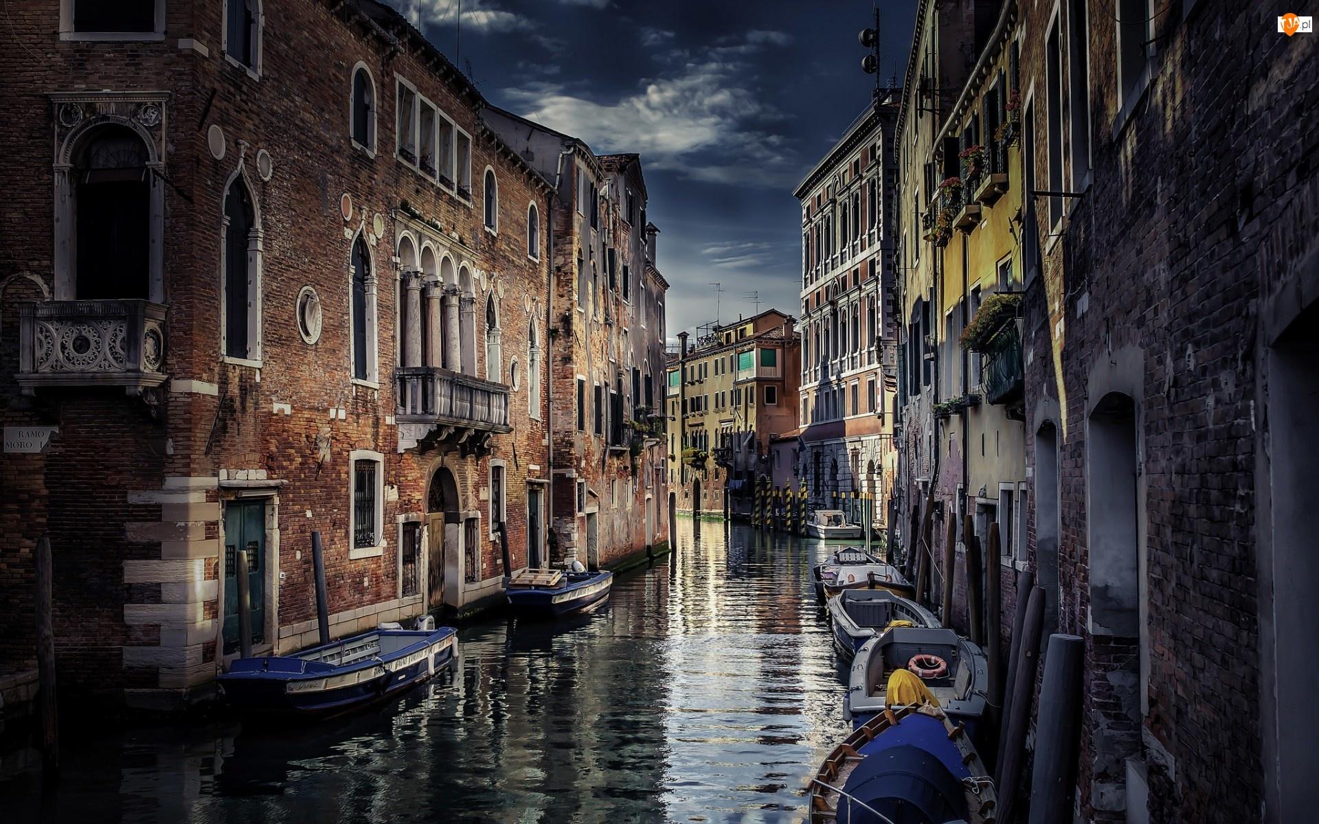 Domy, Wenecja, Kanał, Włochy, Łodzie, Zmierzch