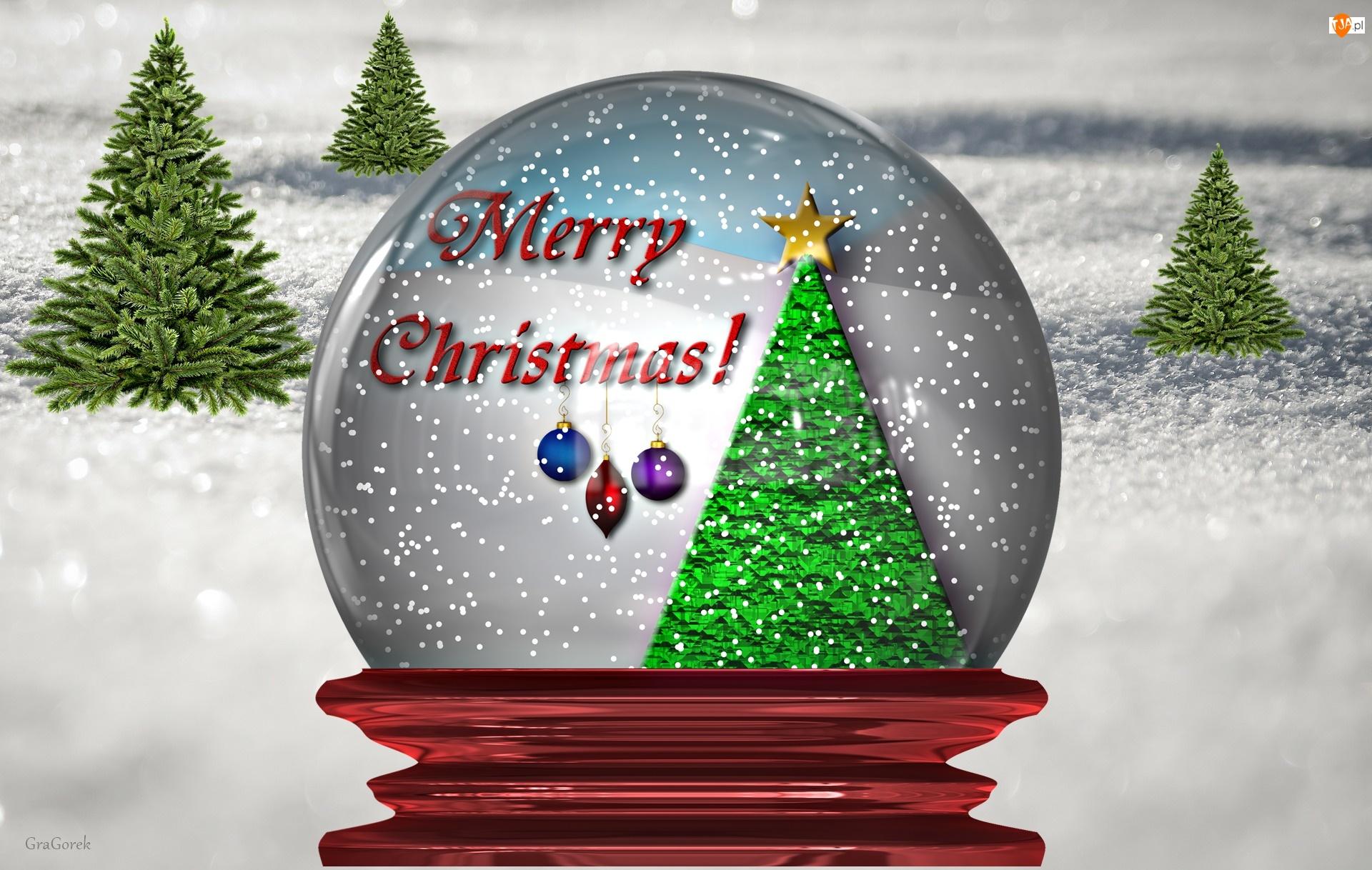 Kula, Świąteczna, Zima, Dekoracja, Śnieżna, Życzenia