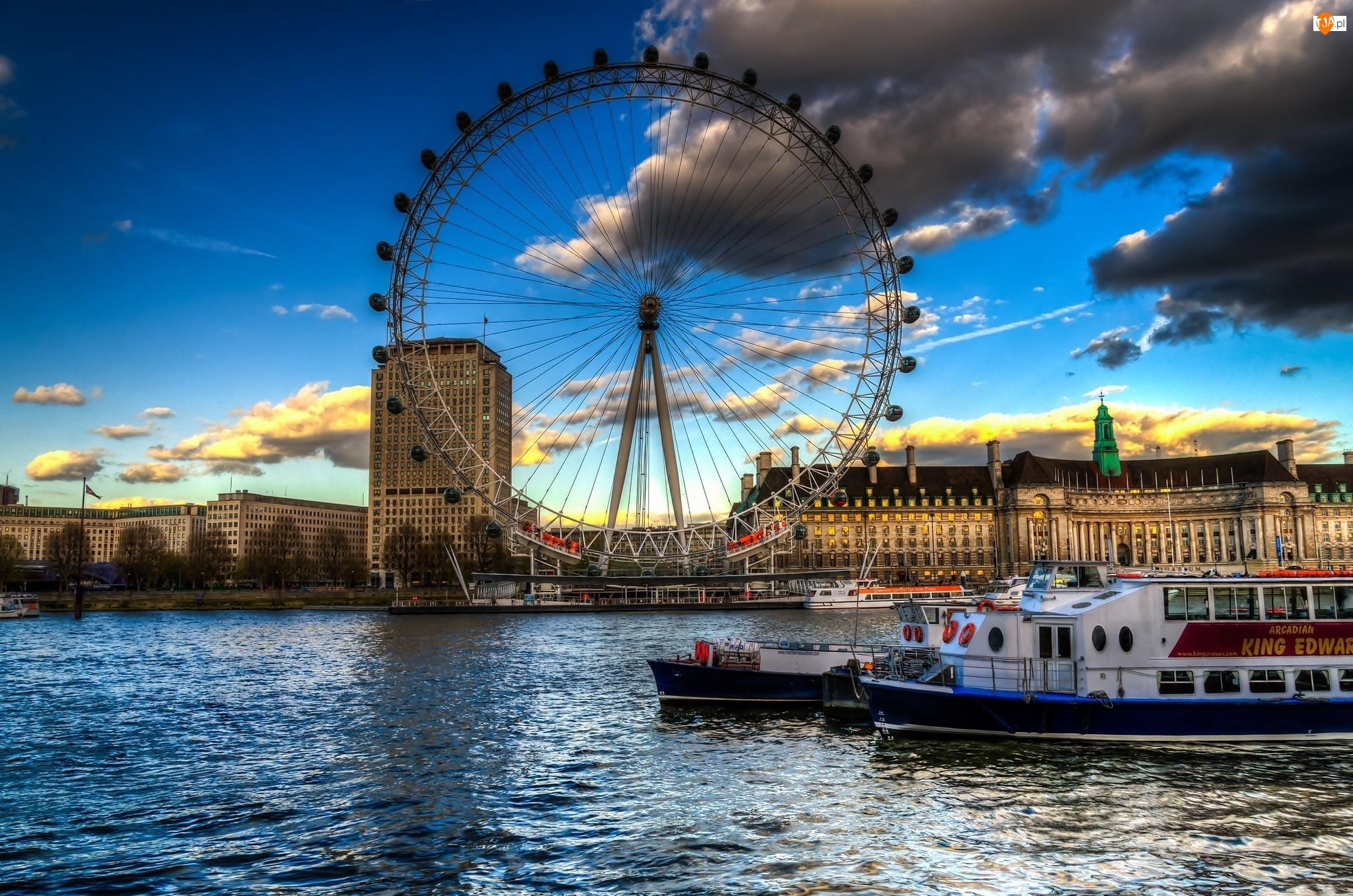 Statki, Londyn, London Eye, Anglia, Tamiza, Chmury