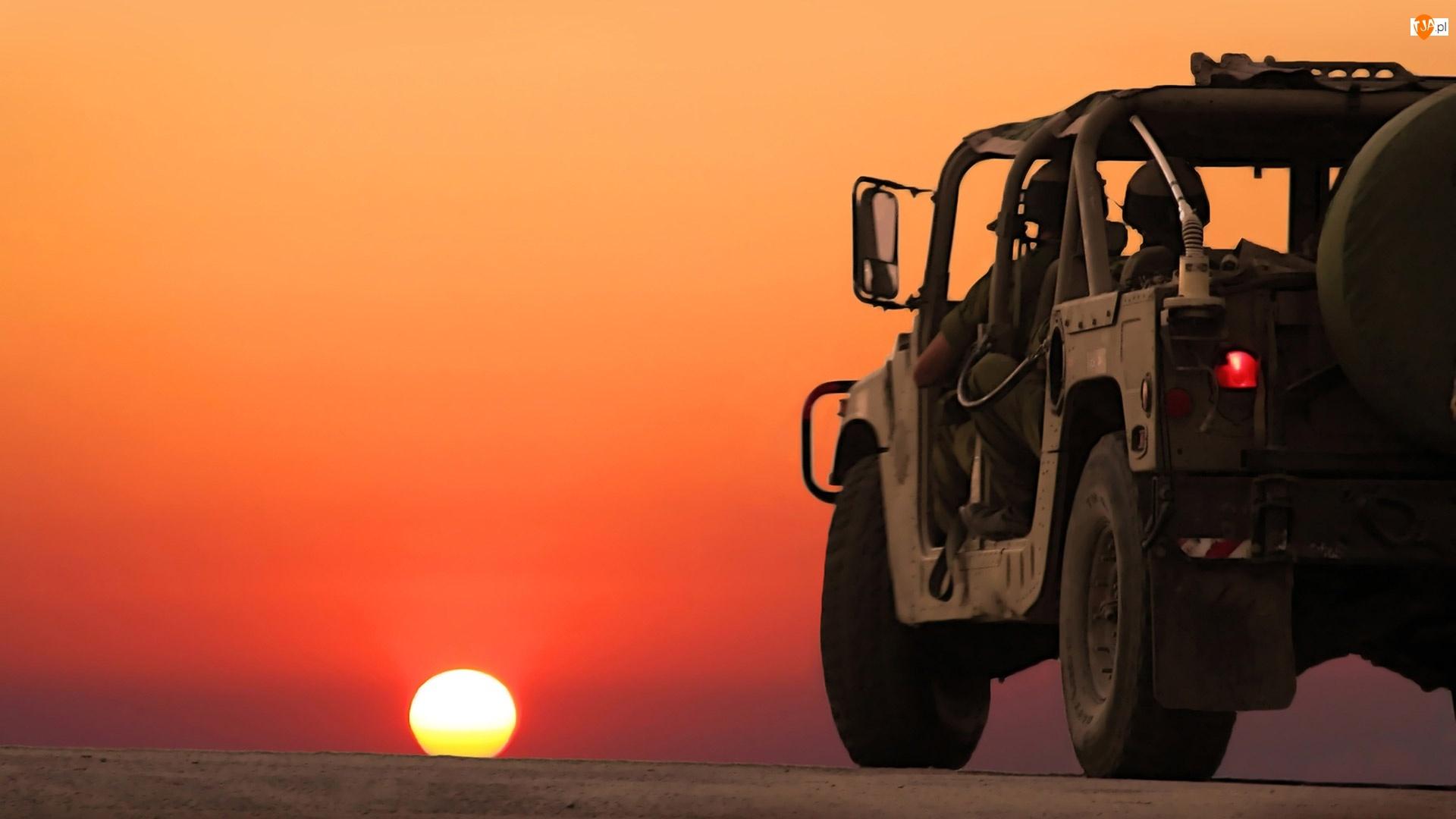 Wojskowy, Zachód Słońca, Hummer, Pustynia