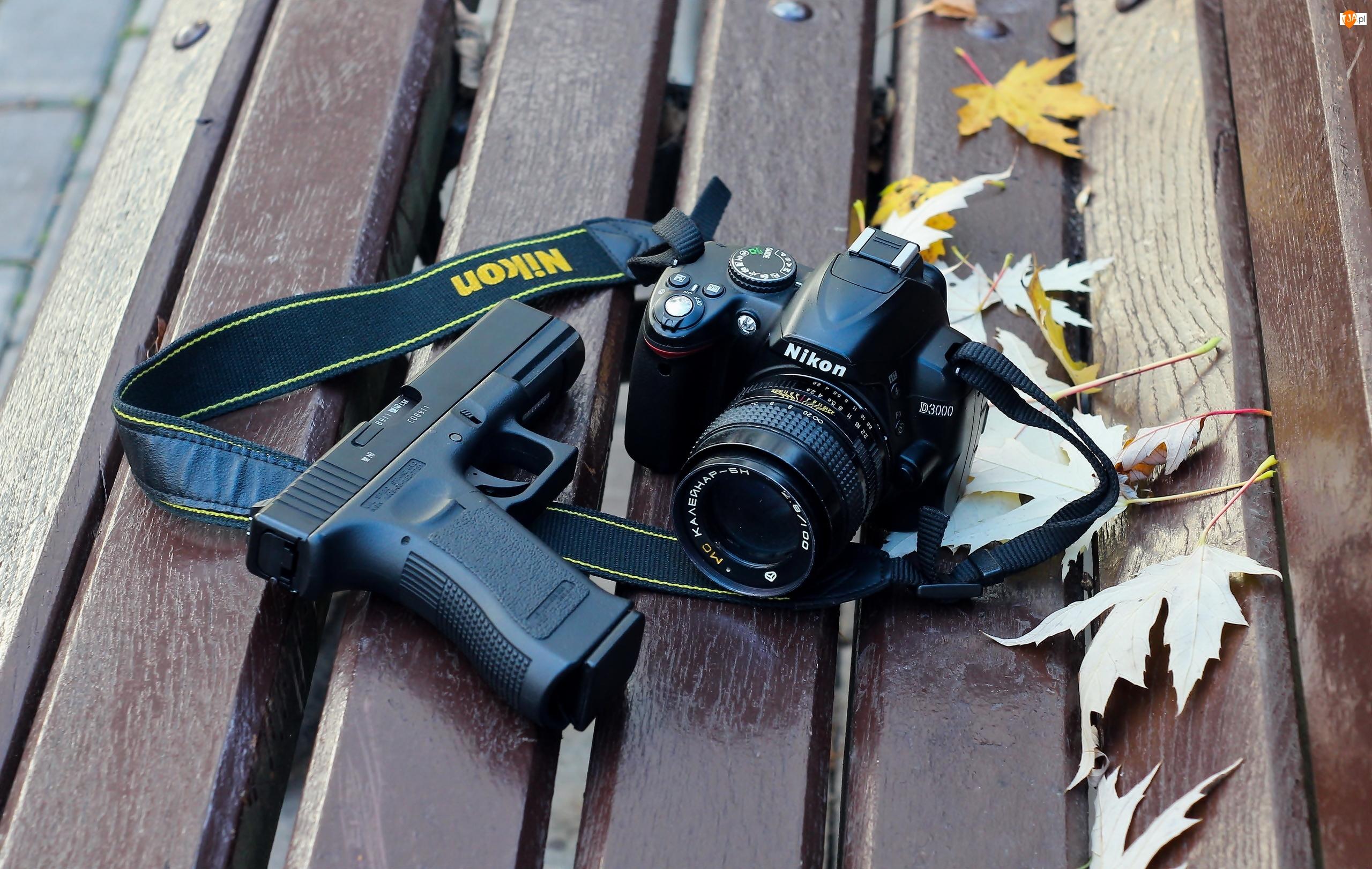 Pistolet, Ławka, Aparat, Park, Fotograficzny, Liście