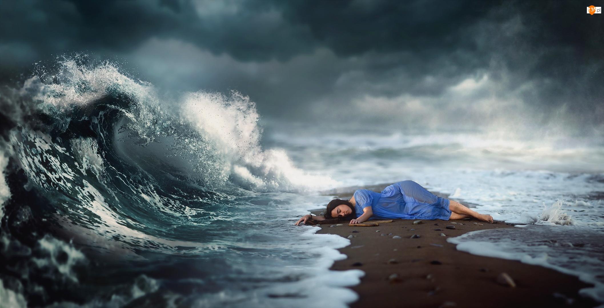 Kobieta, Morze, Brzeg, Fala, Leżąca