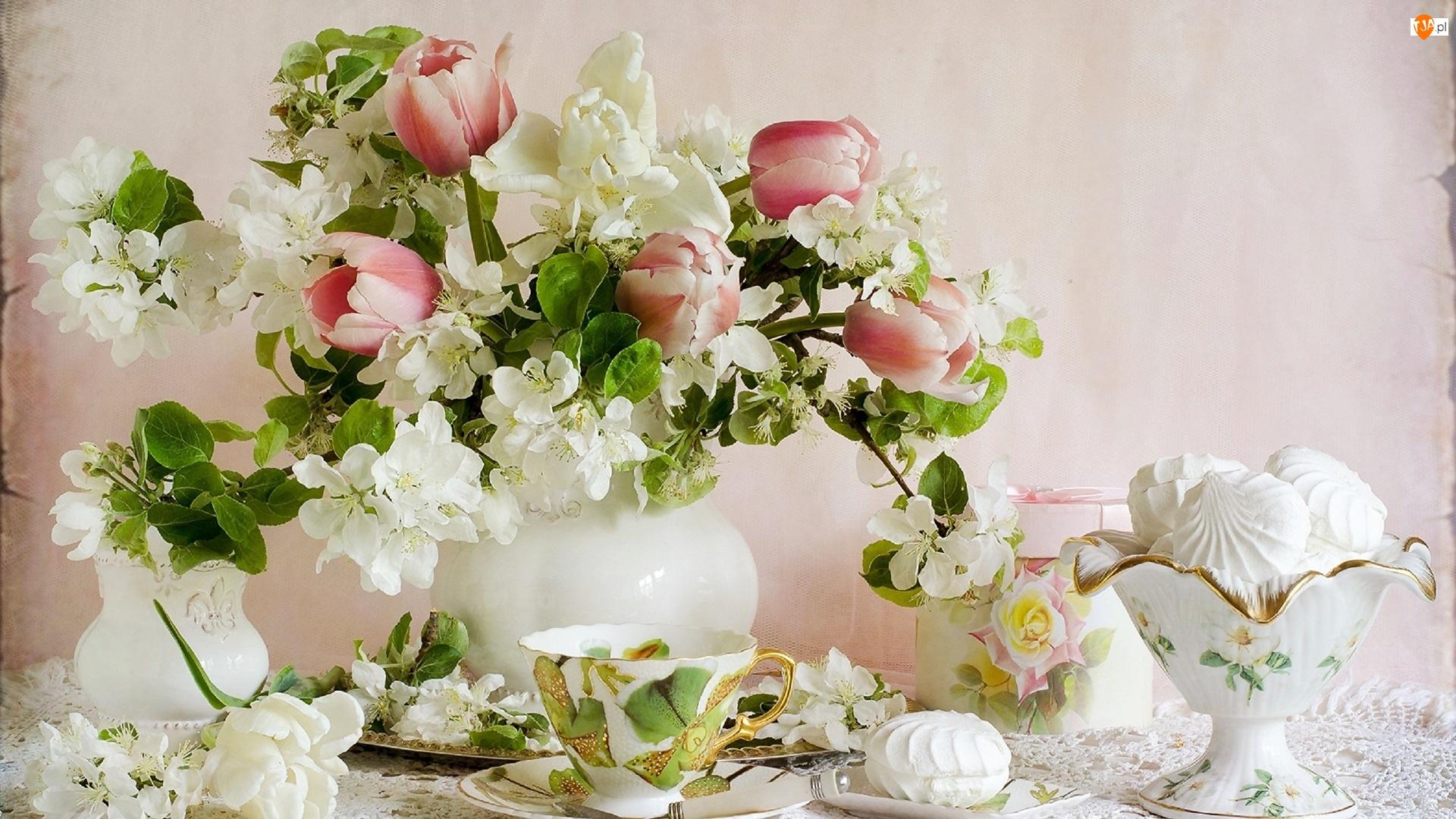 Bukiet, Ciastka, Kompozycja, Bezy, Kwiaty, Tulipany