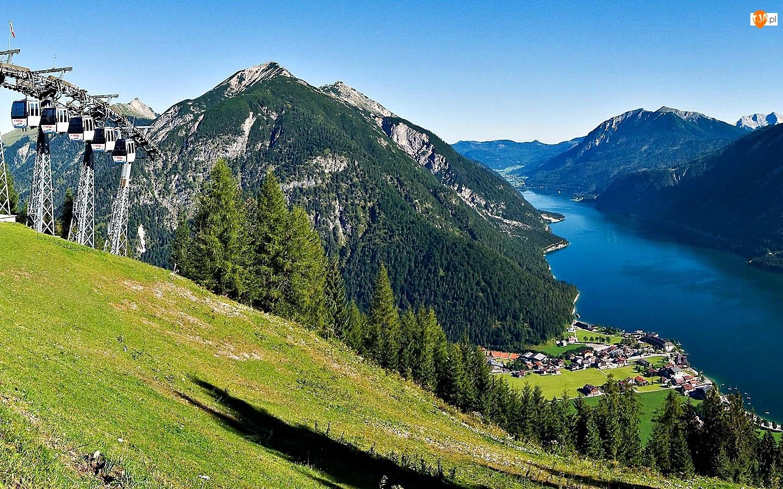 Jezioro, Achensee, Góry, Kolejka, Tyrol, Górska, Lasy, Wioska
