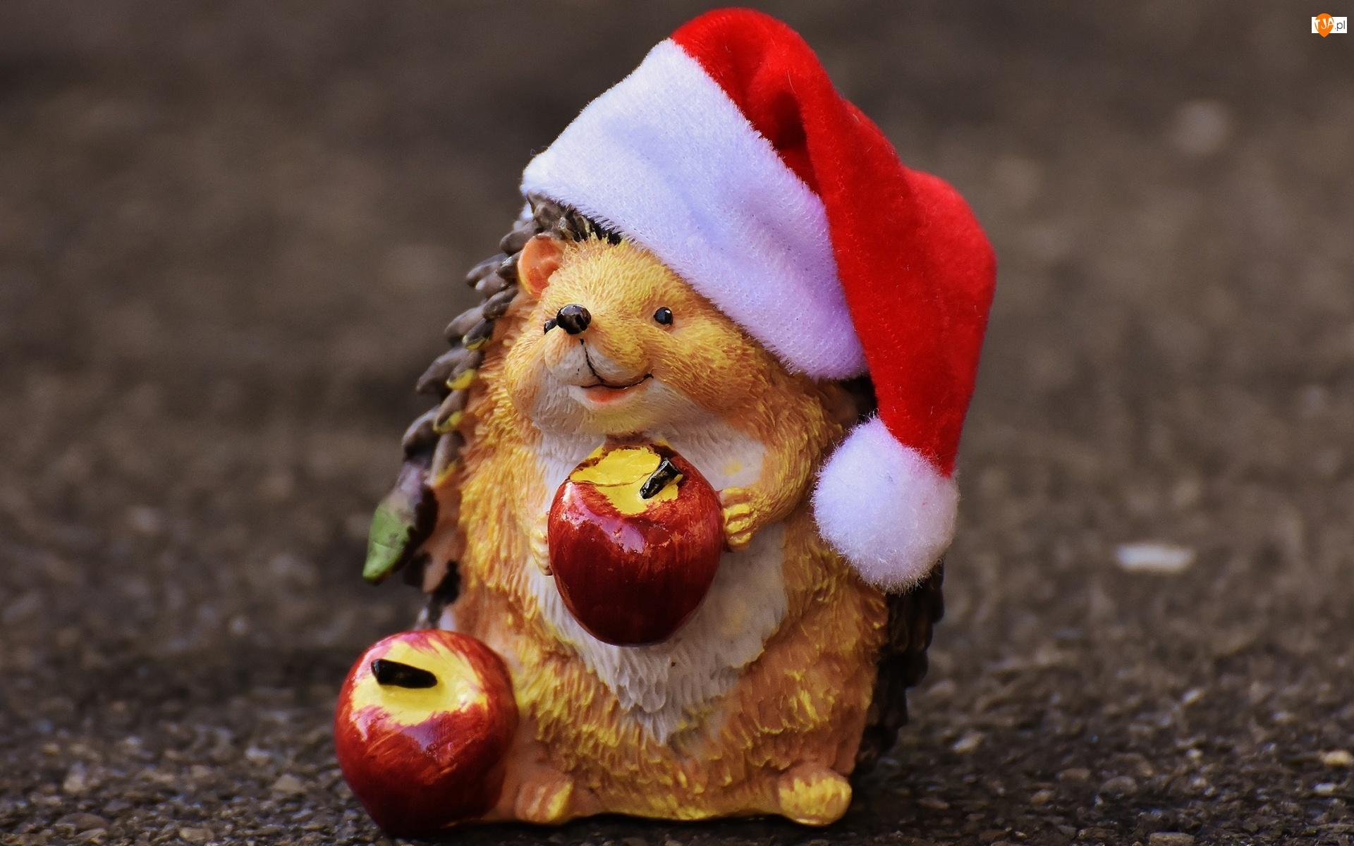 Mikołaj, Figurka, Jabłka, Jeż, Czapka