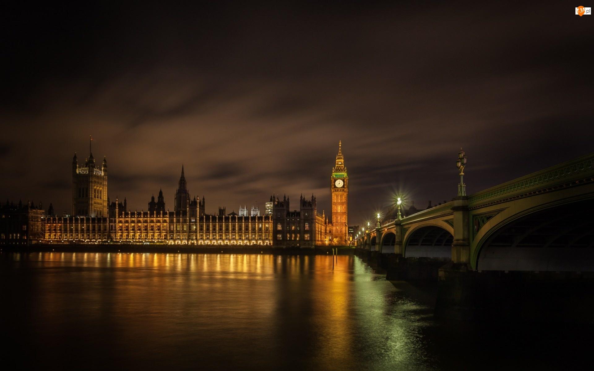Nocą, Londyn, Big Ben