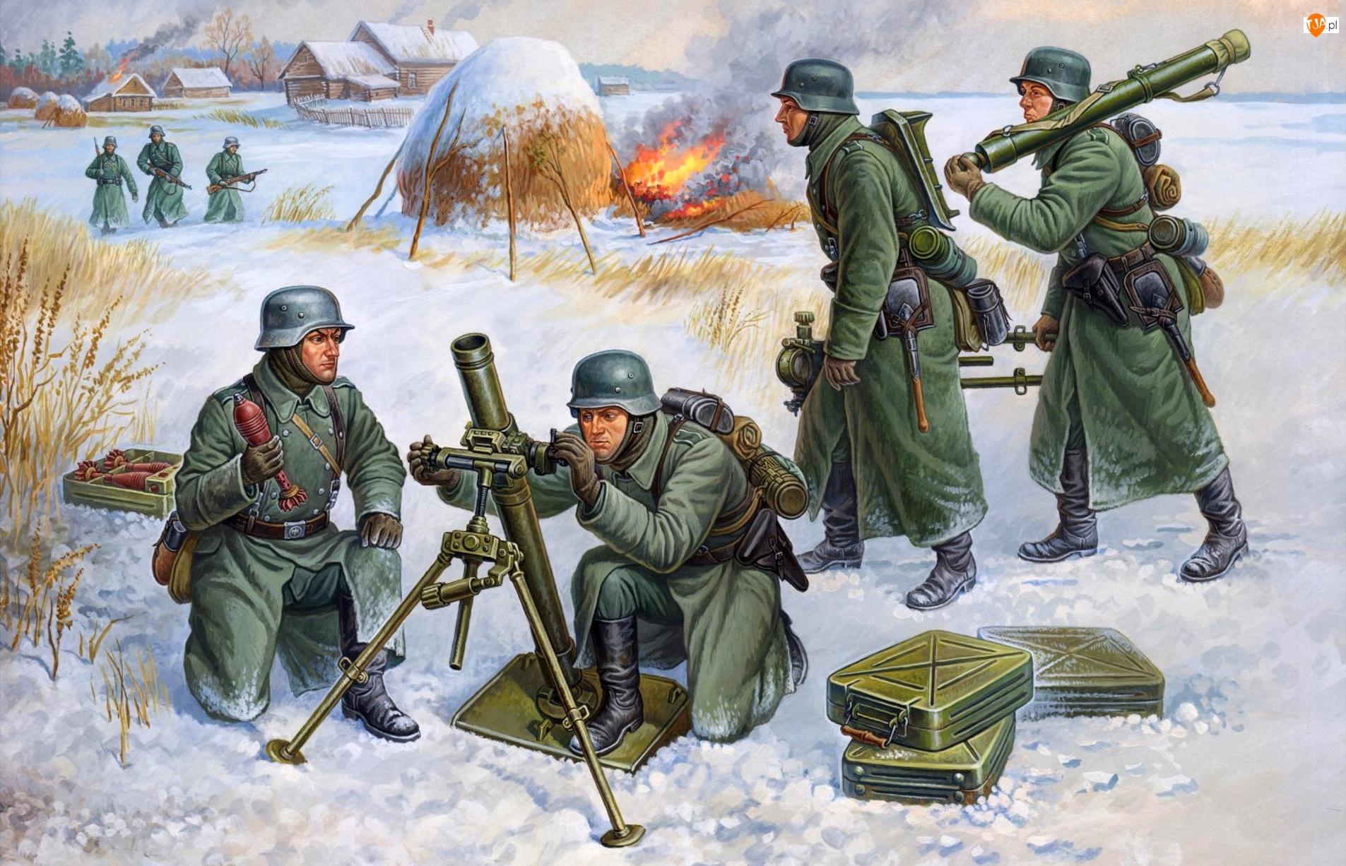 Ogień, Żołnierze, Walka, Broń, Wioska