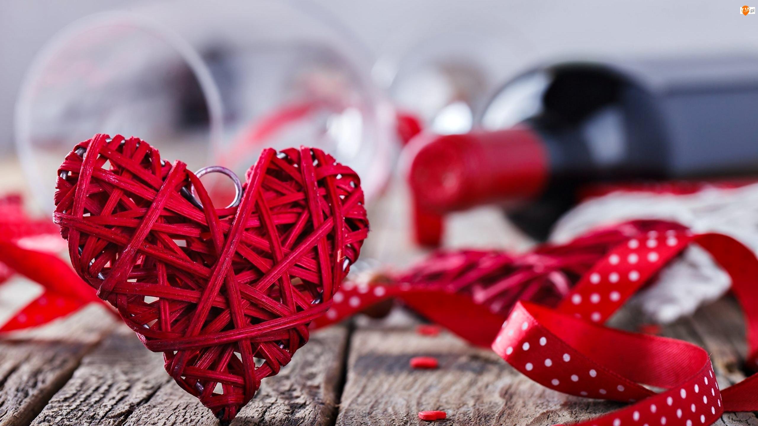 Butelka, Walentynki, Serce, Czerwone, Wstążki