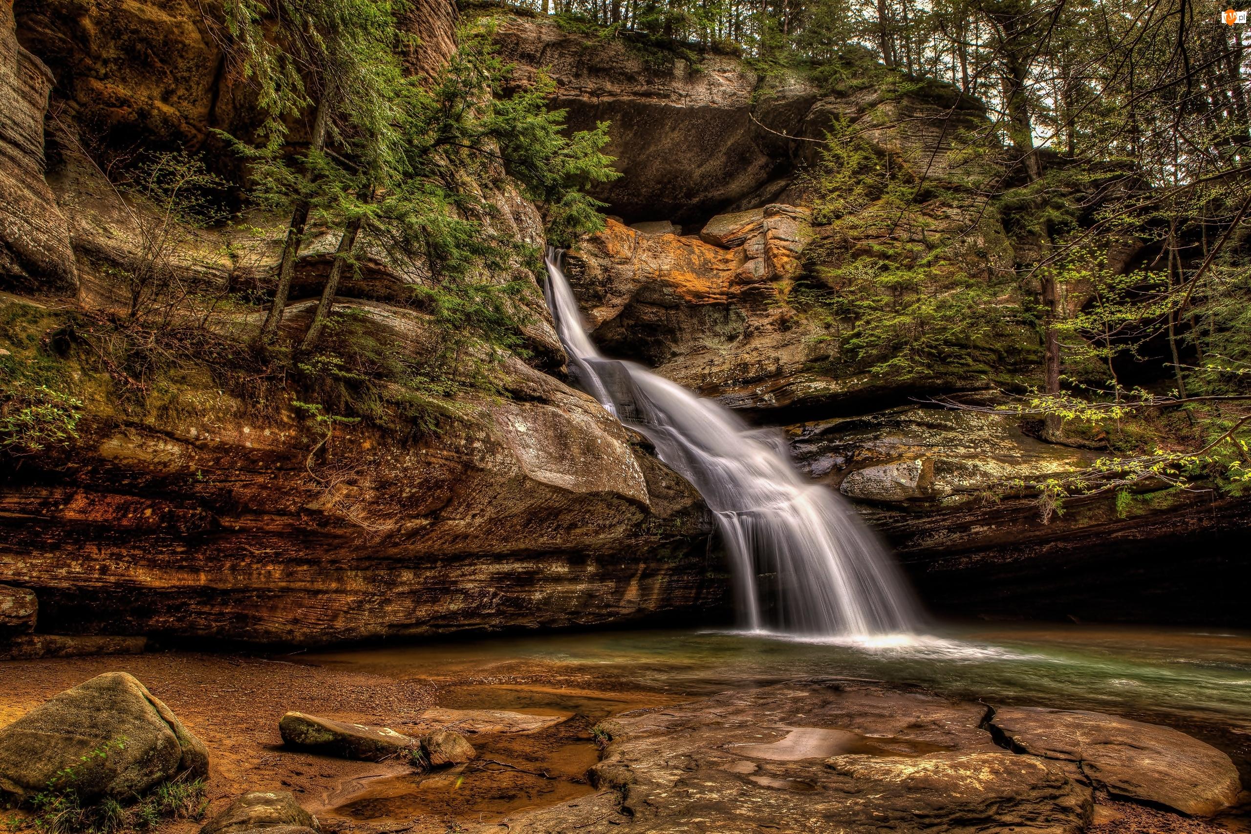 Skały, Stany Zjednoczone, Park stanowy Hocking Hills, Stan Ohio, Wodospad Cedar Falls
