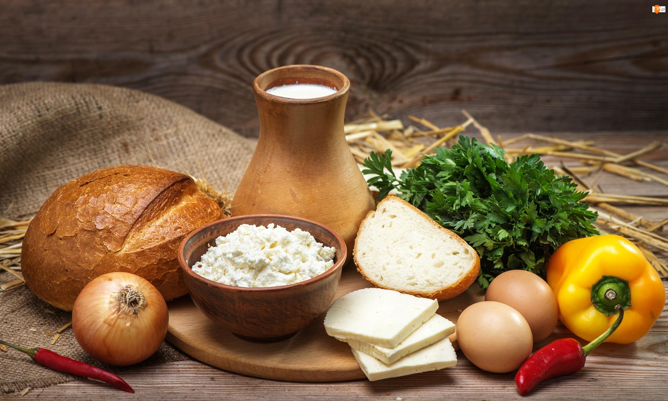 Jajka, Ser, Pietruszka, Jedzenie, Mleko, Kompozycja, Papryka, Chleb, Cebula