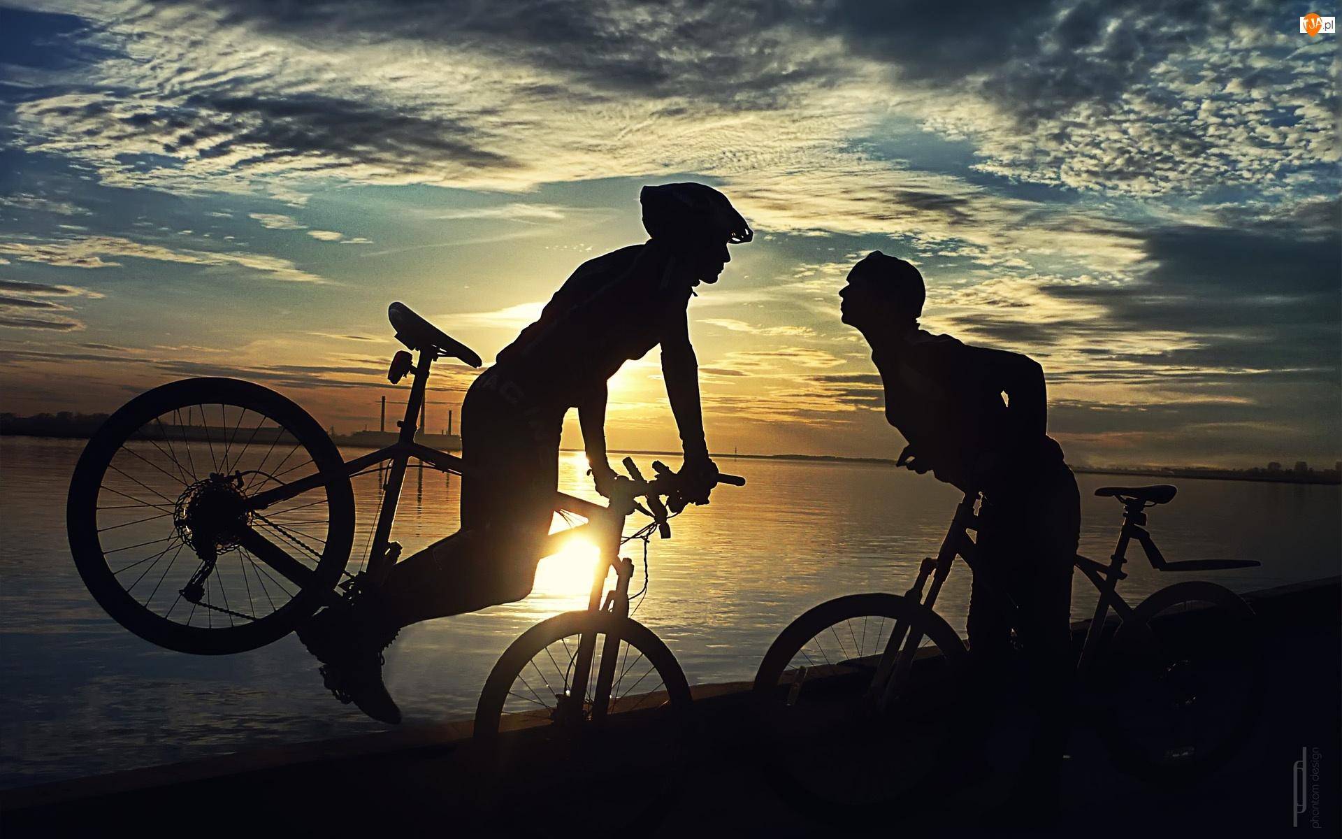 Jezioro, Ludzi, Rowery, Dwoje
