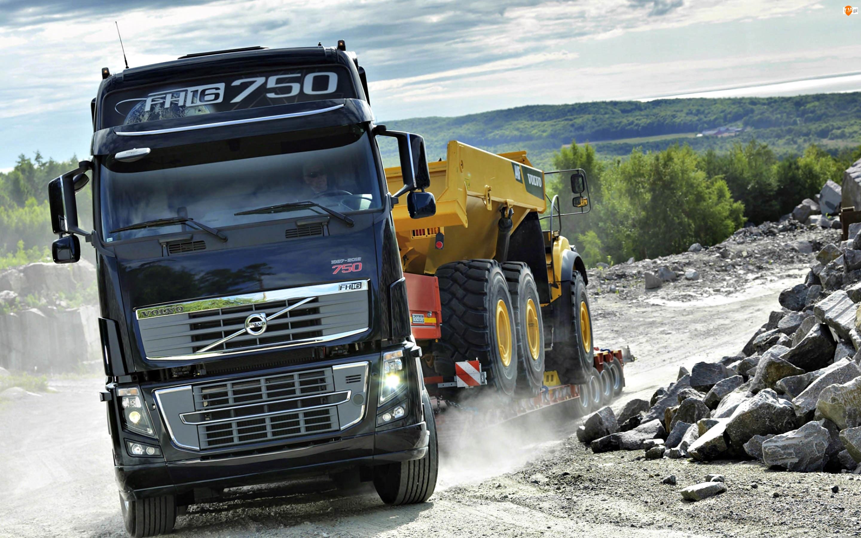 Ciężarówka, Pył, Volvo, Kamienie