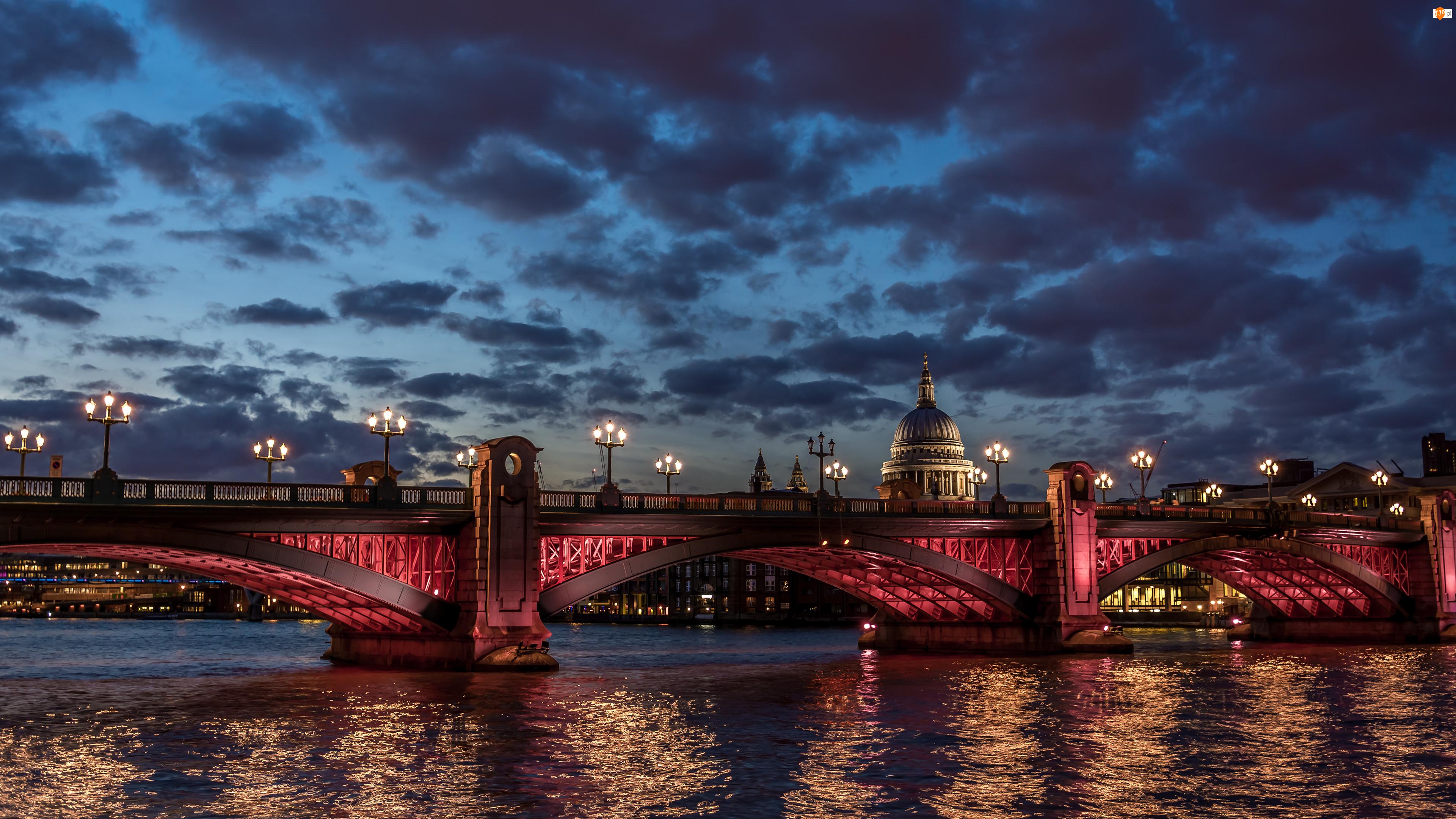 Kopuła, Londyn, Rzeka, Most, Światła