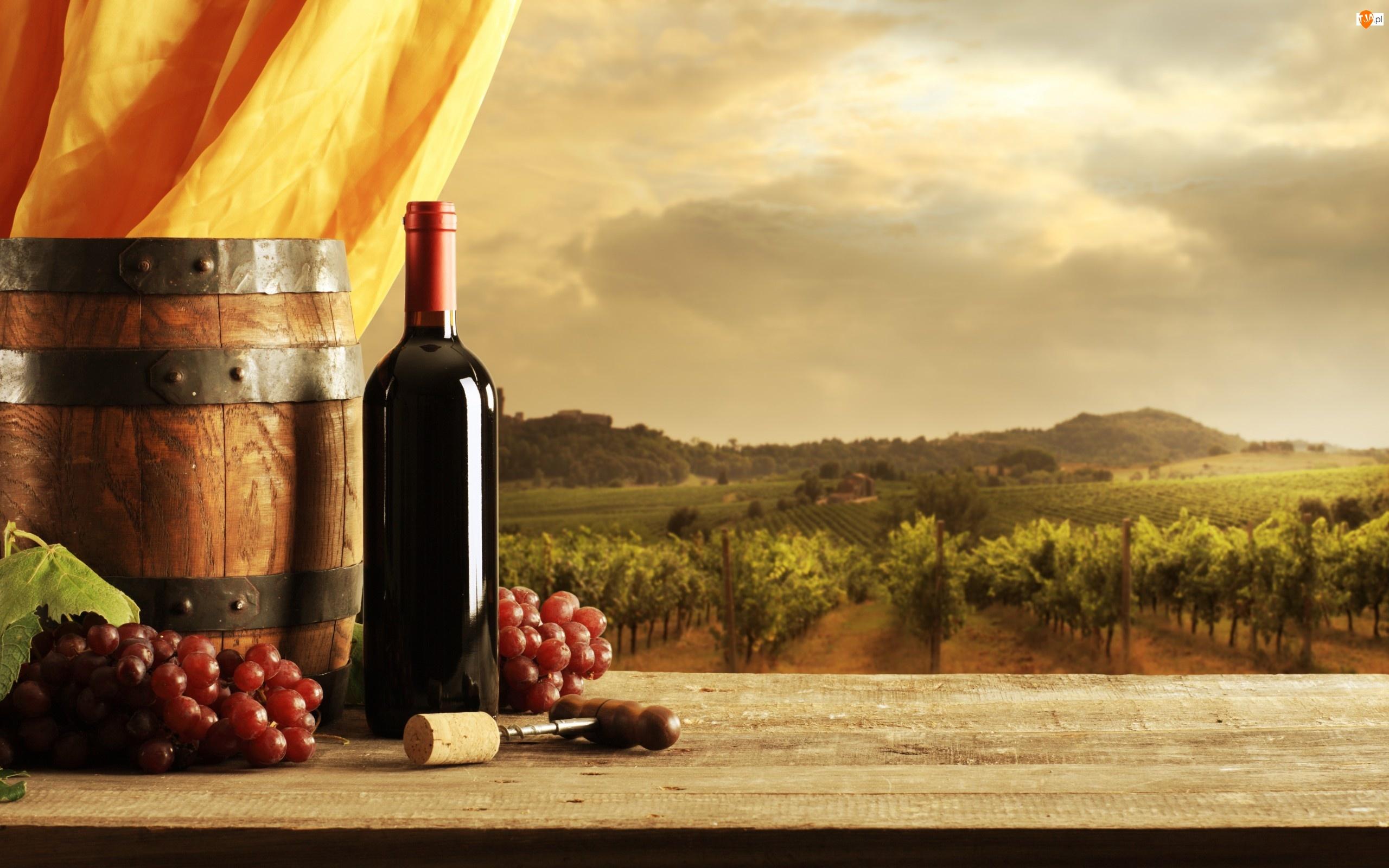 Korkociąg, Winogrona, Beczka, Owoce, Butelka, Wino