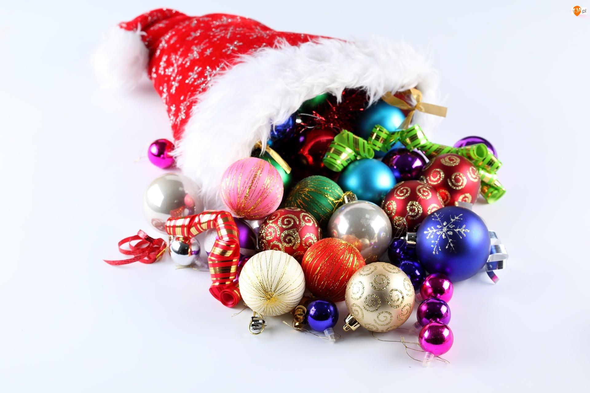 Boże Narodzenie, Bombki, Czapka, Mikołaja