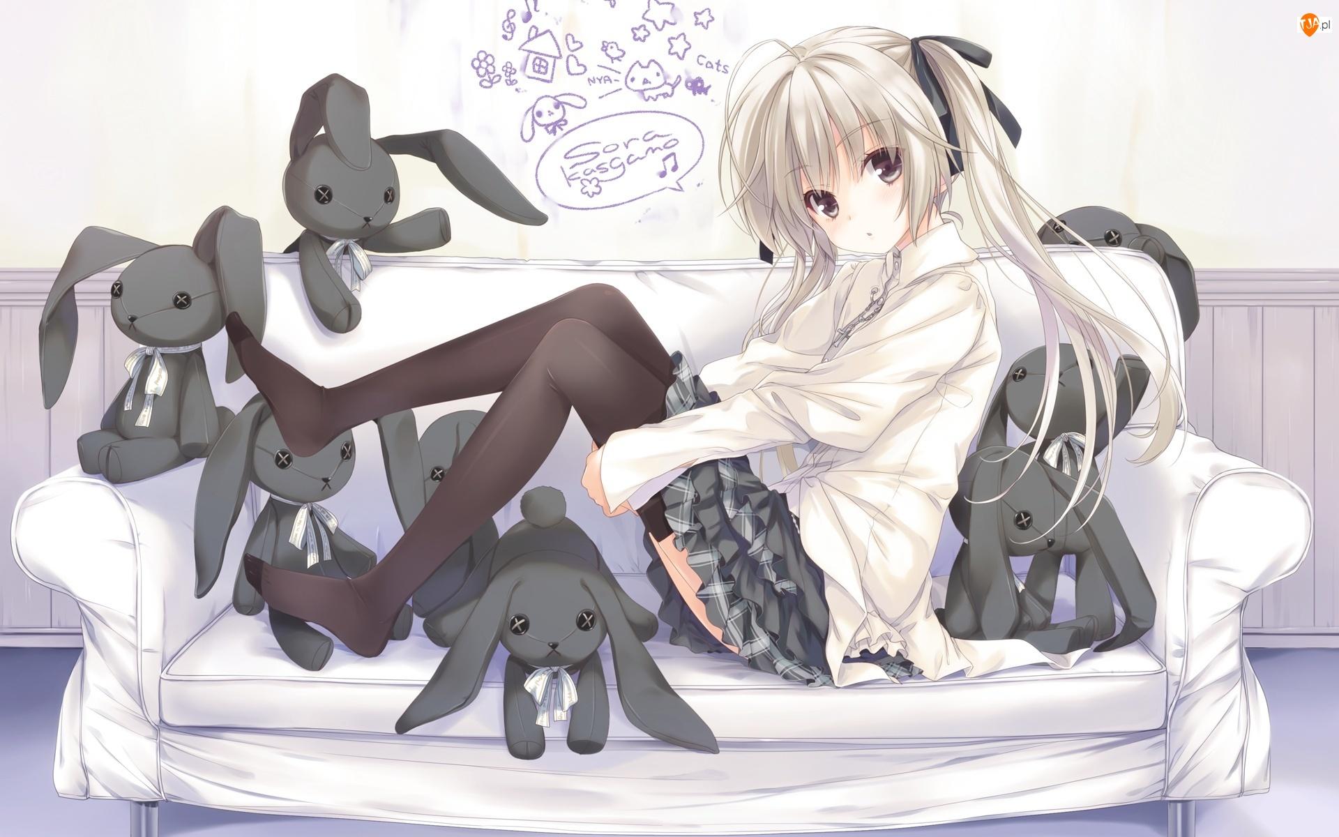 Manga, Pluszaki, Kanapa, Dziewczyna, Anime, Zające, Rysunek