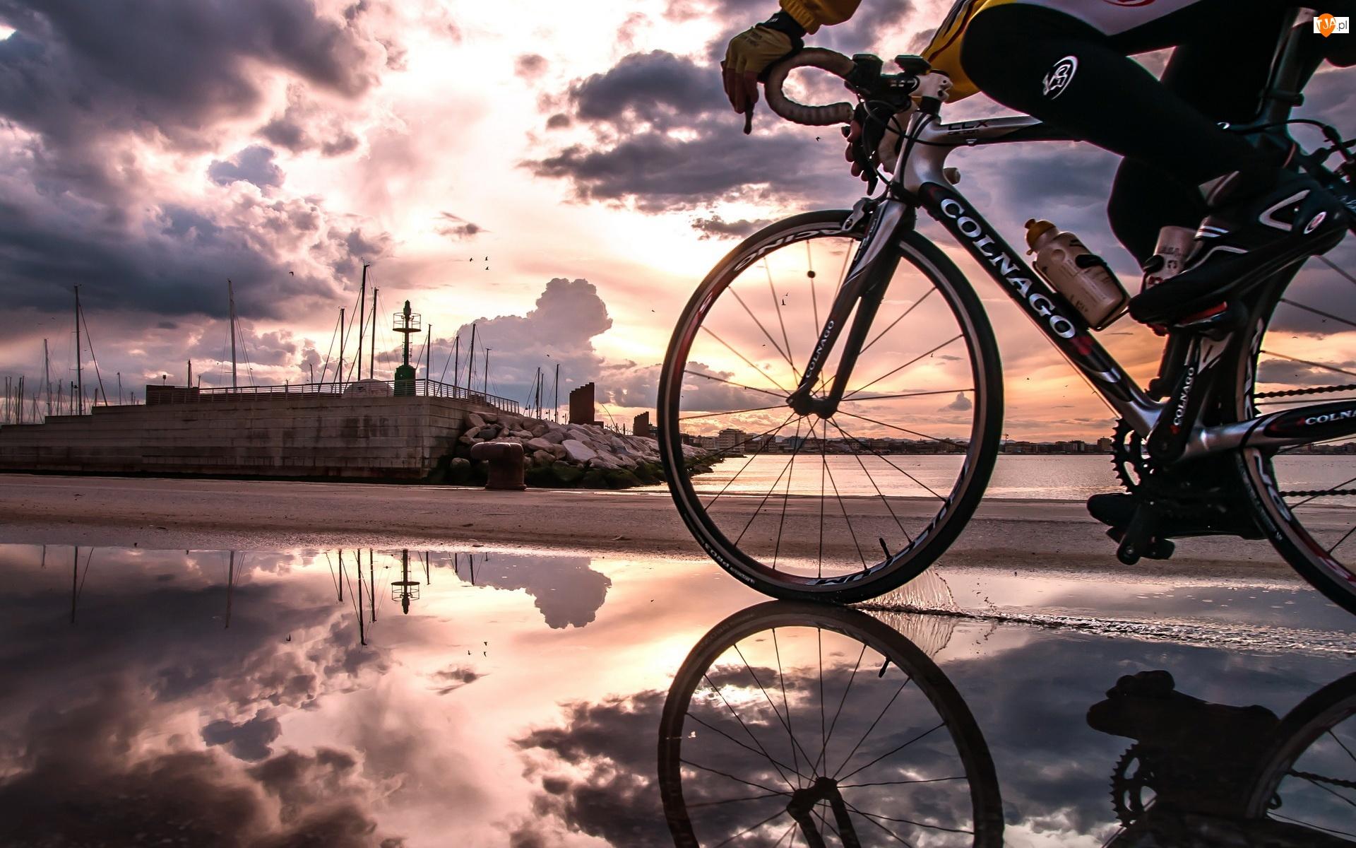Nabrzeżu, Niebo, Rowerzysta, Chmury, Na, Portowym
