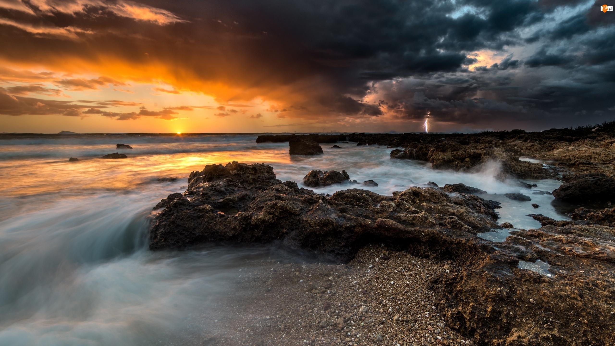 Morze, Piorun, Zachód słońca, Burza